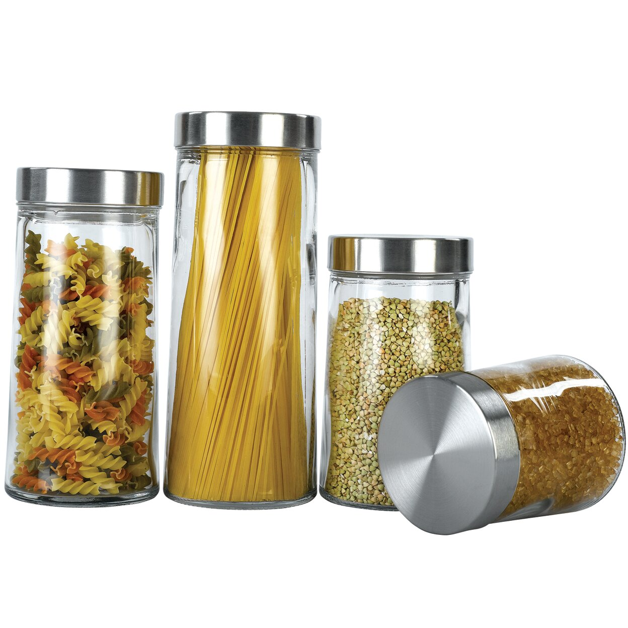 Yellow Canister Sets Kitchen Euro Ware Glass Plain 4 Piece Kitchen Canister Set Reviews Wayfair