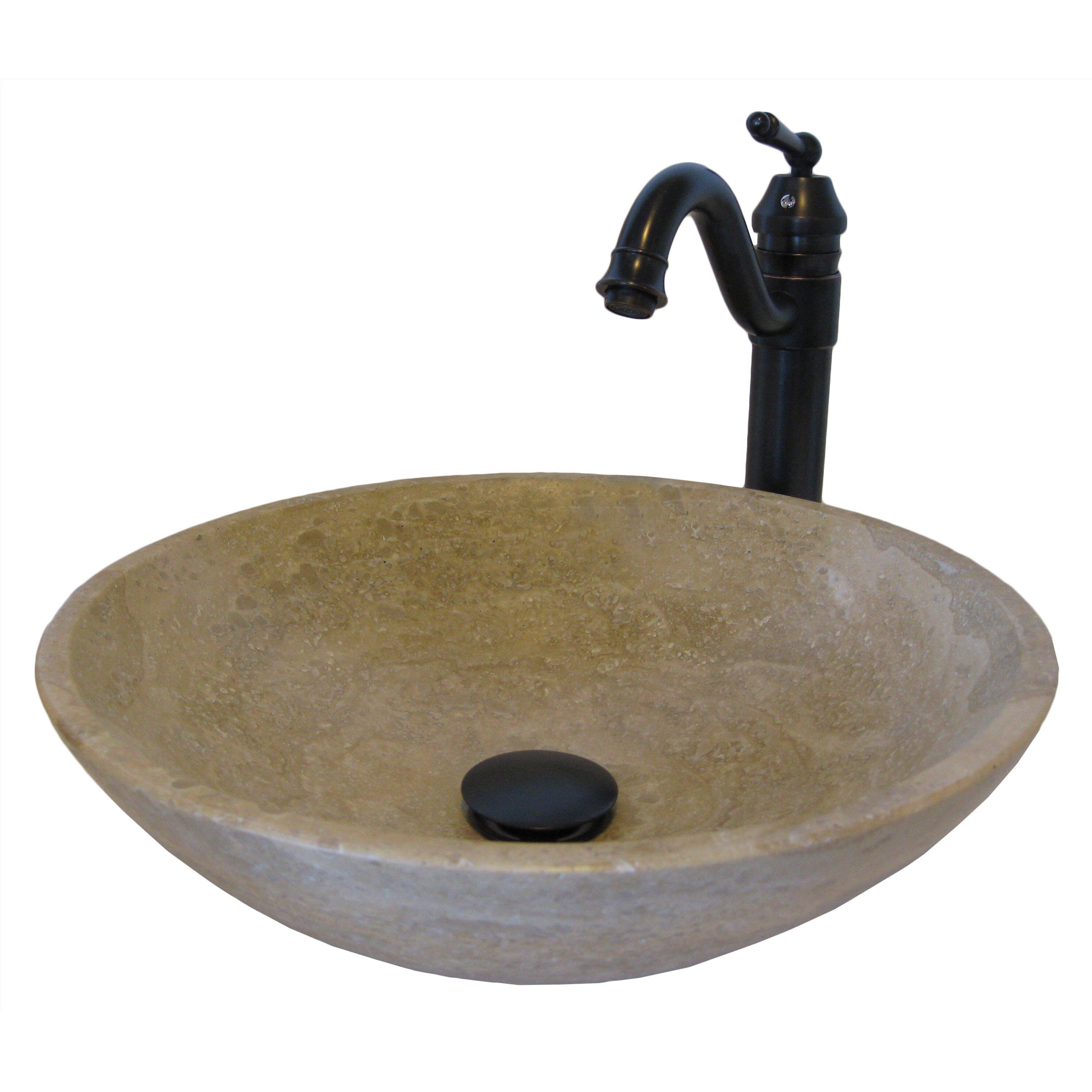 novatto beige travertine stone vessel bathroom sink set wayfair