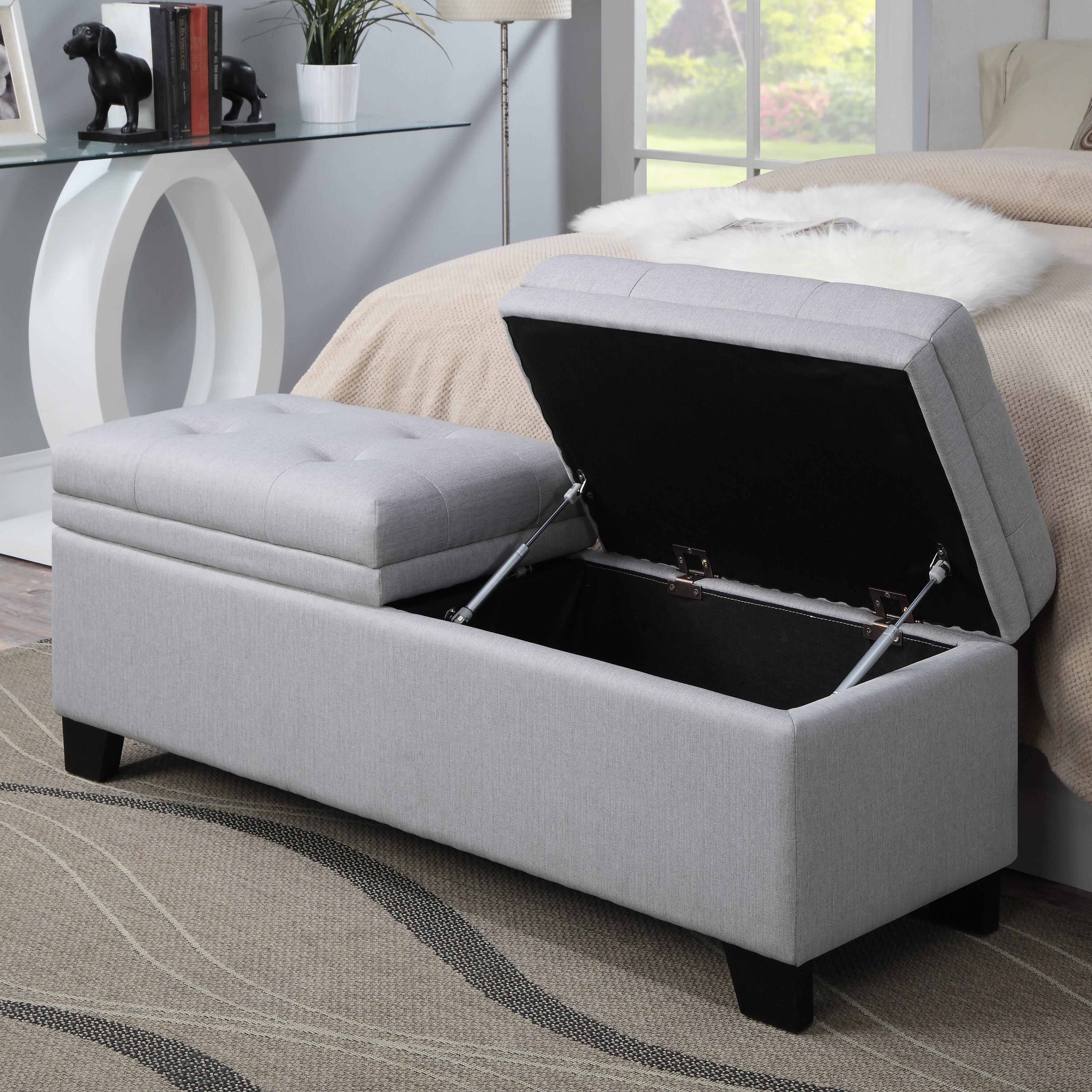PRI Lilac Fields Upholstered Bedroom Storage Bench