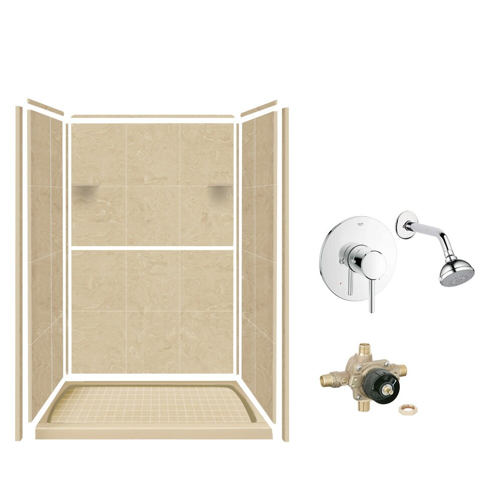 pictures of tiles in bathrooms samson solid surface three panel shower wall kit wayfair ca 23988
