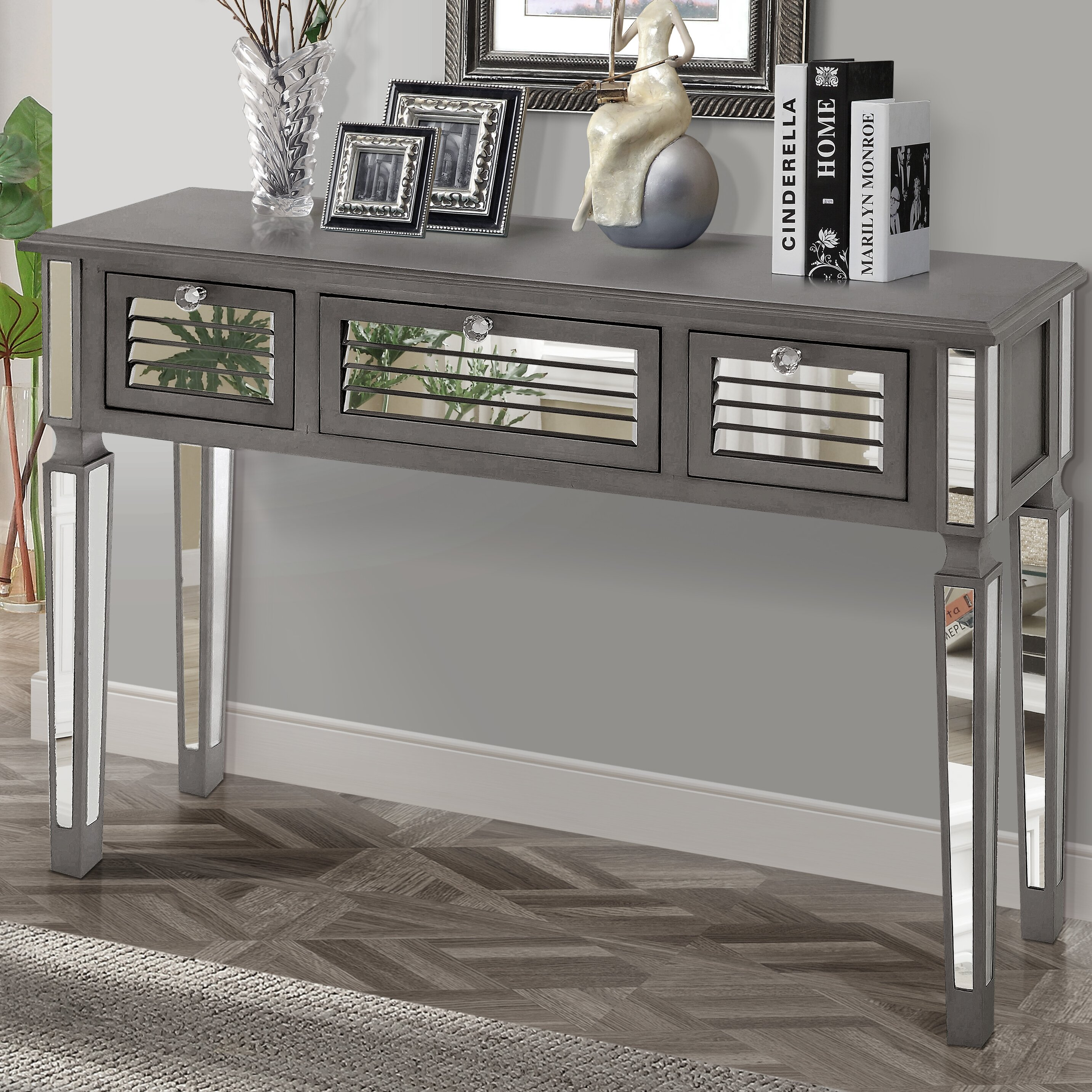 Gallerie Decor Summit Mirrored Console Table Amp Reviews