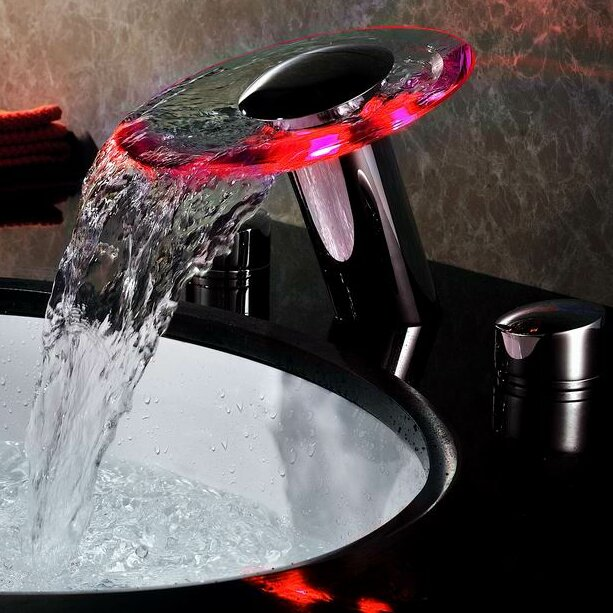 Group double handle widespread waterfall bathroom sink faucet - Sumerain Double Handle Widespread Led Waterfall Bathroom