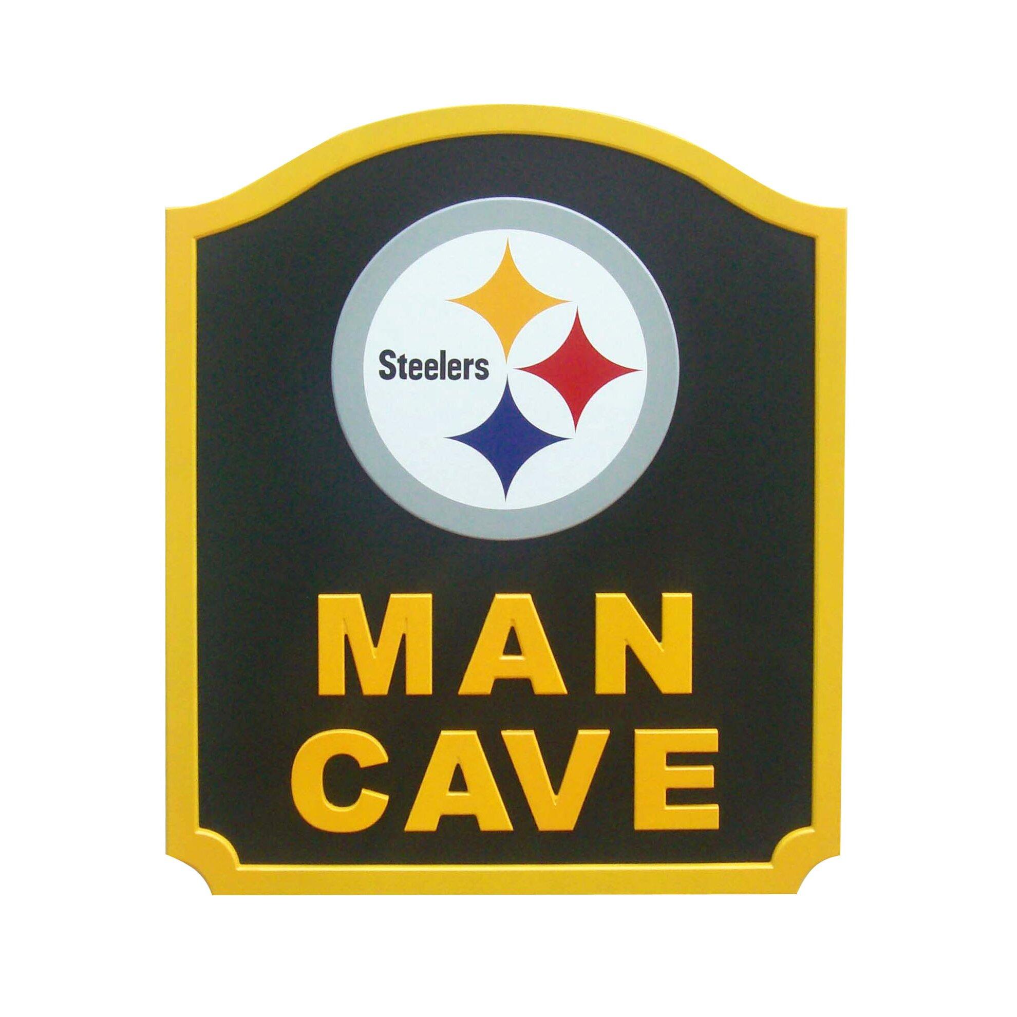 fan creations nfl man cave shield textual art plaque wayfair