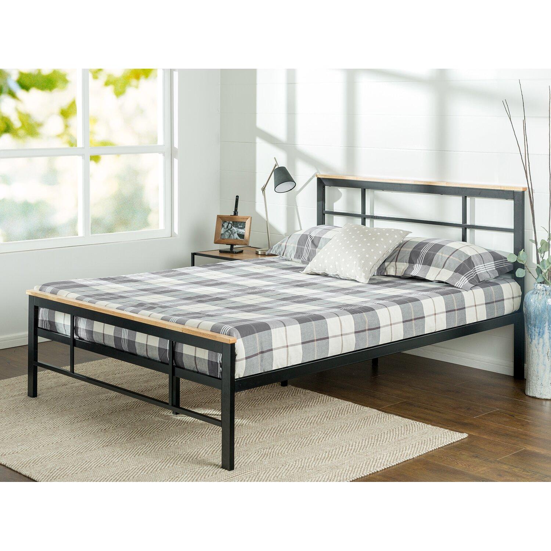 zinus urban metal wood platform bed. Black Bedroom Furniture Sets. Home Design Ideas
