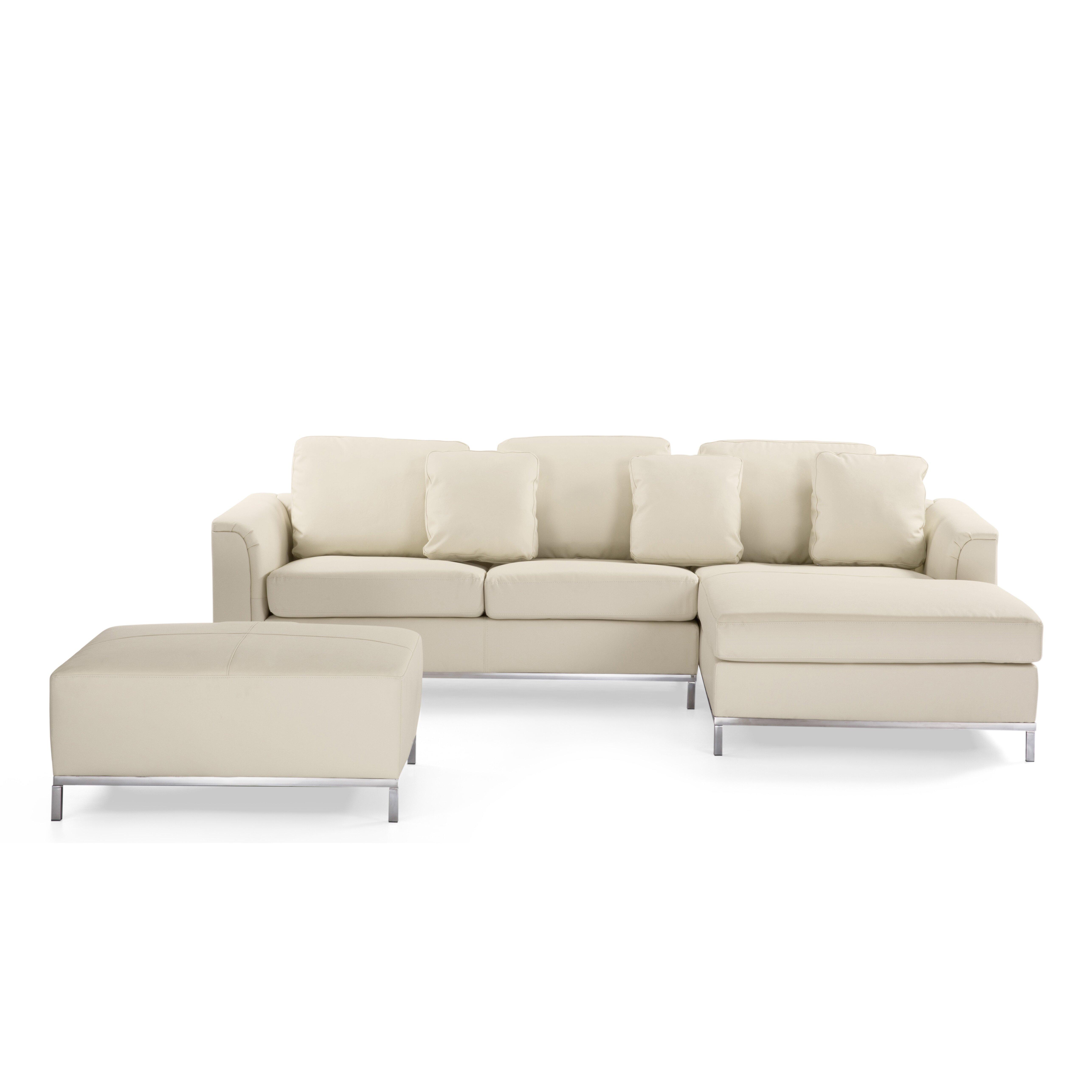 Leather Living Room Sets Beliani Oslo 3 Piece Leather Living Room Set Reviews Wayfair