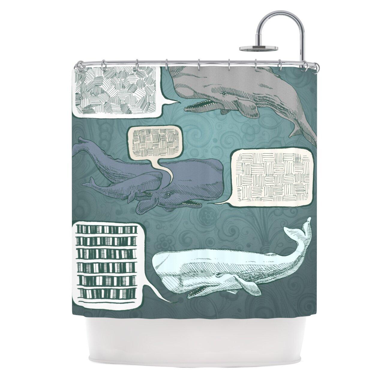 Whale shower curtain - Kess Inhouse Whale Talk Shower Curtain