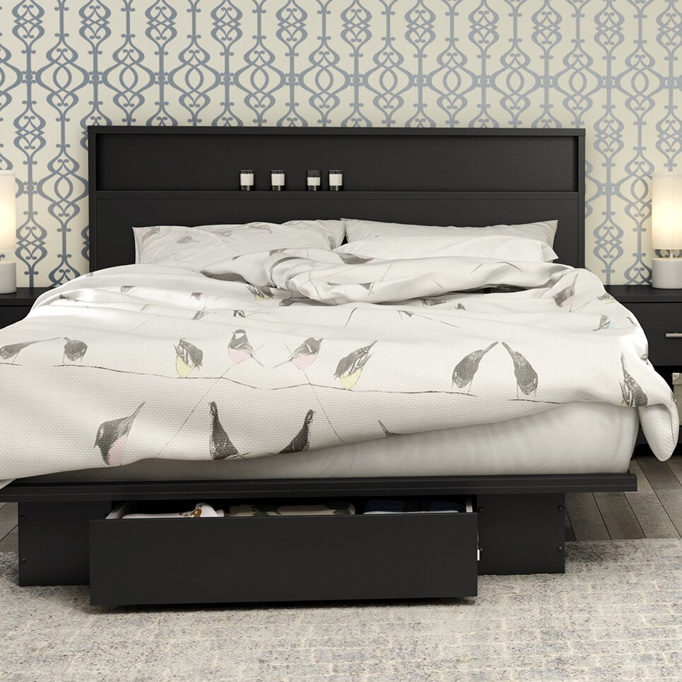 south shore primo full queen storage platform bed