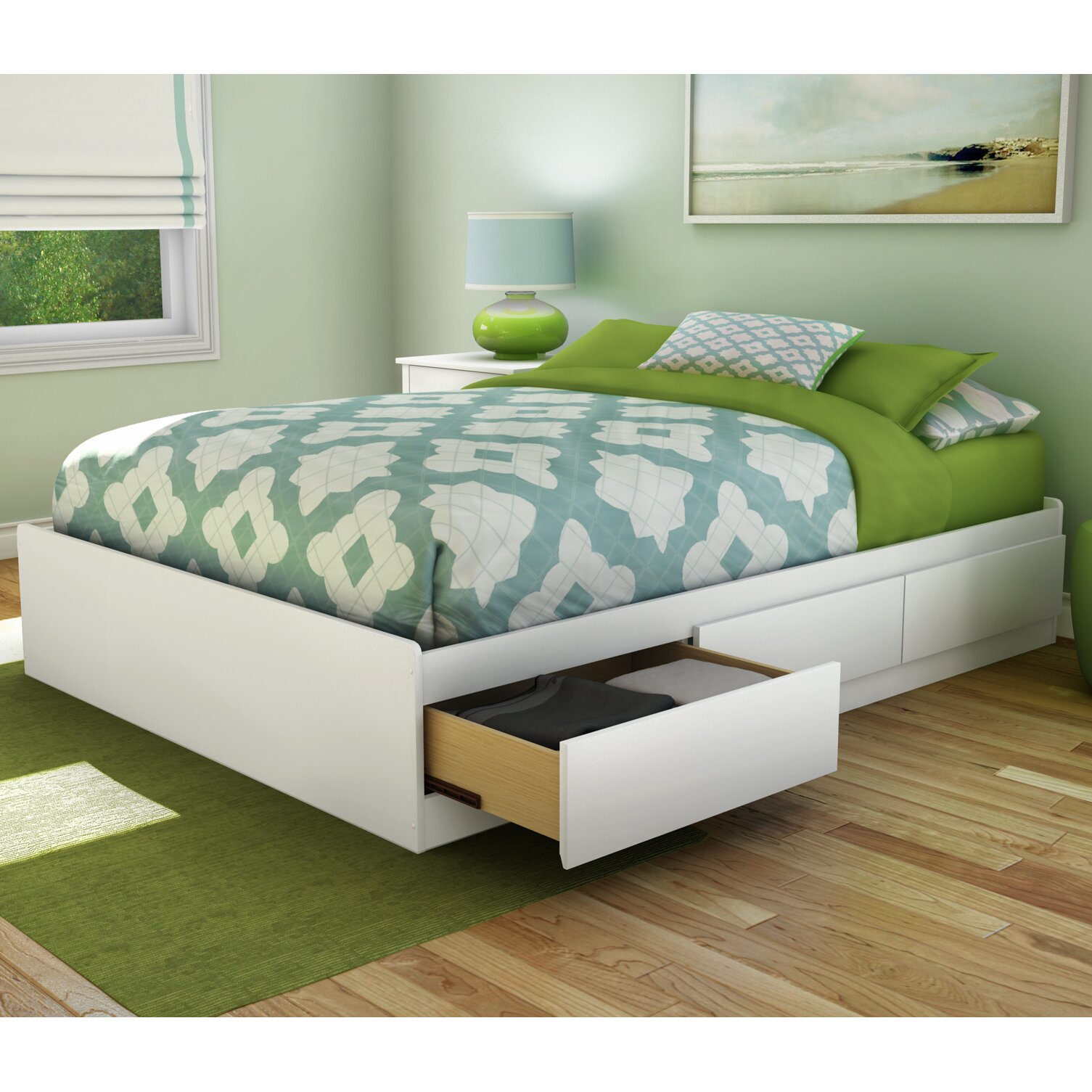 south shore step one fulldouble storage platform bed