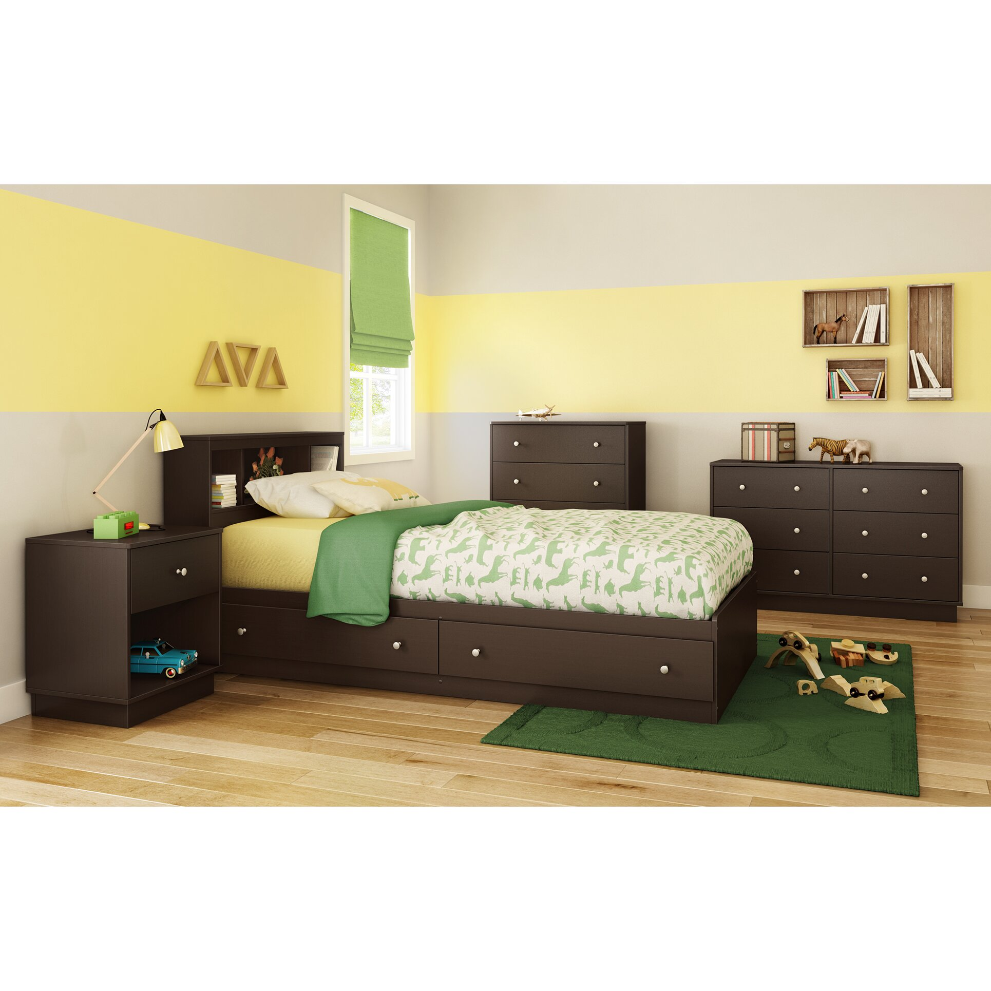South Shore Bedroom Furniture South Shore Litchi Twin Platform Customizable Bedroom Set