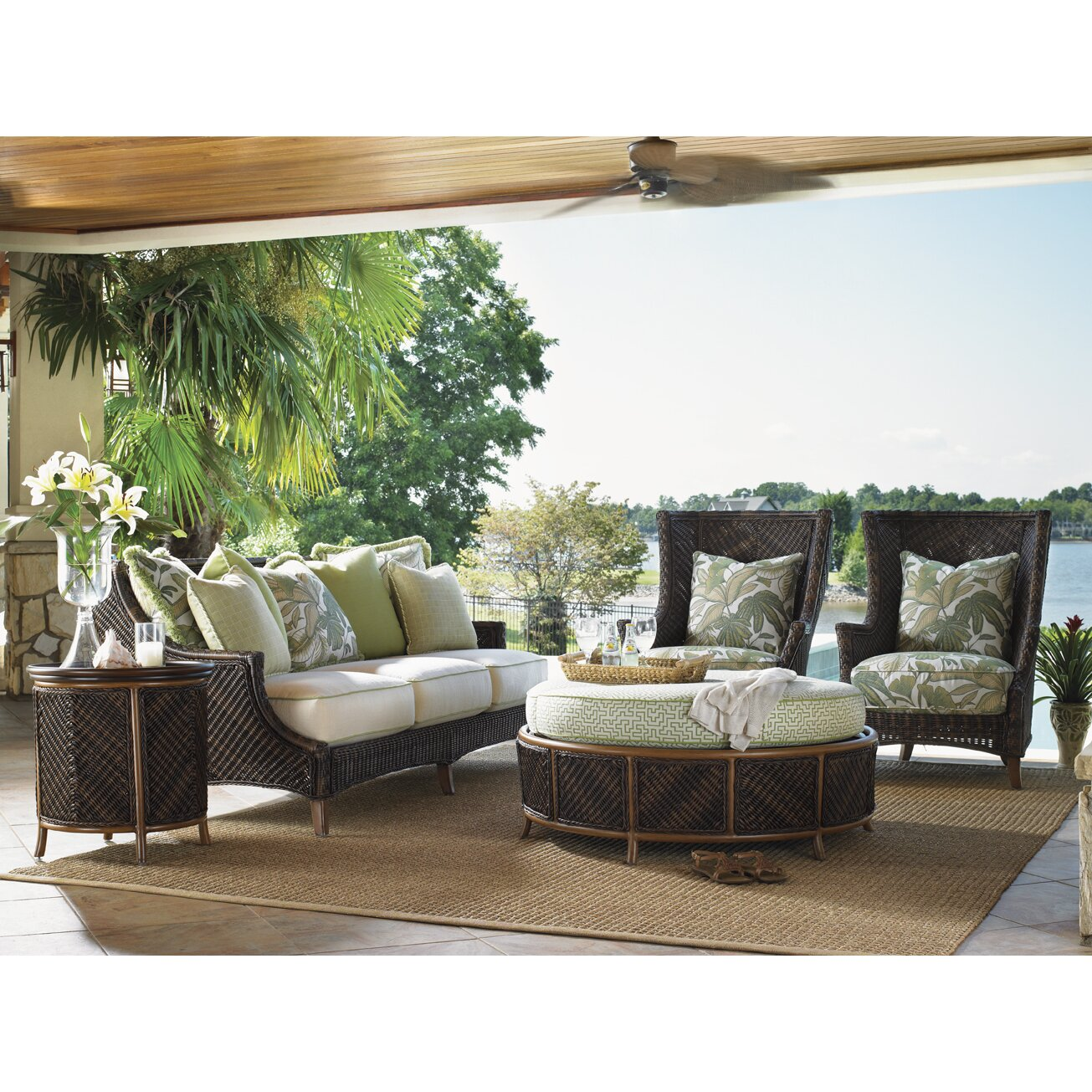 Wing chair with ottoman - Tommy Bahama Outdoor Island Estate Lanai Wing Chair And Ottoman With Cushions