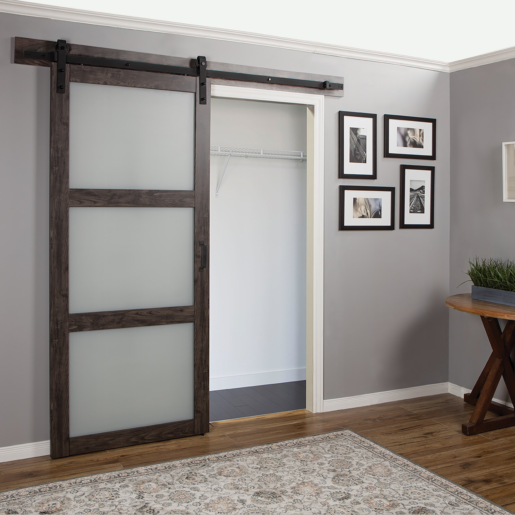 erias home designs continental frosted glass 1 panel ironage laminate interior barn door. Black Bedroom Furniture Sets. Home Design Ideas