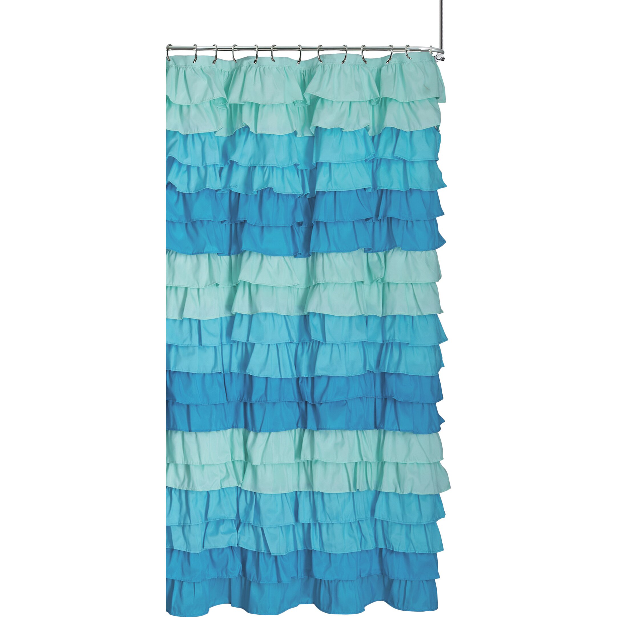 Blue ruffled shower curtains - Dainty Home Venezia Ruffle Shower Curtain Pirate Shower Curtain
