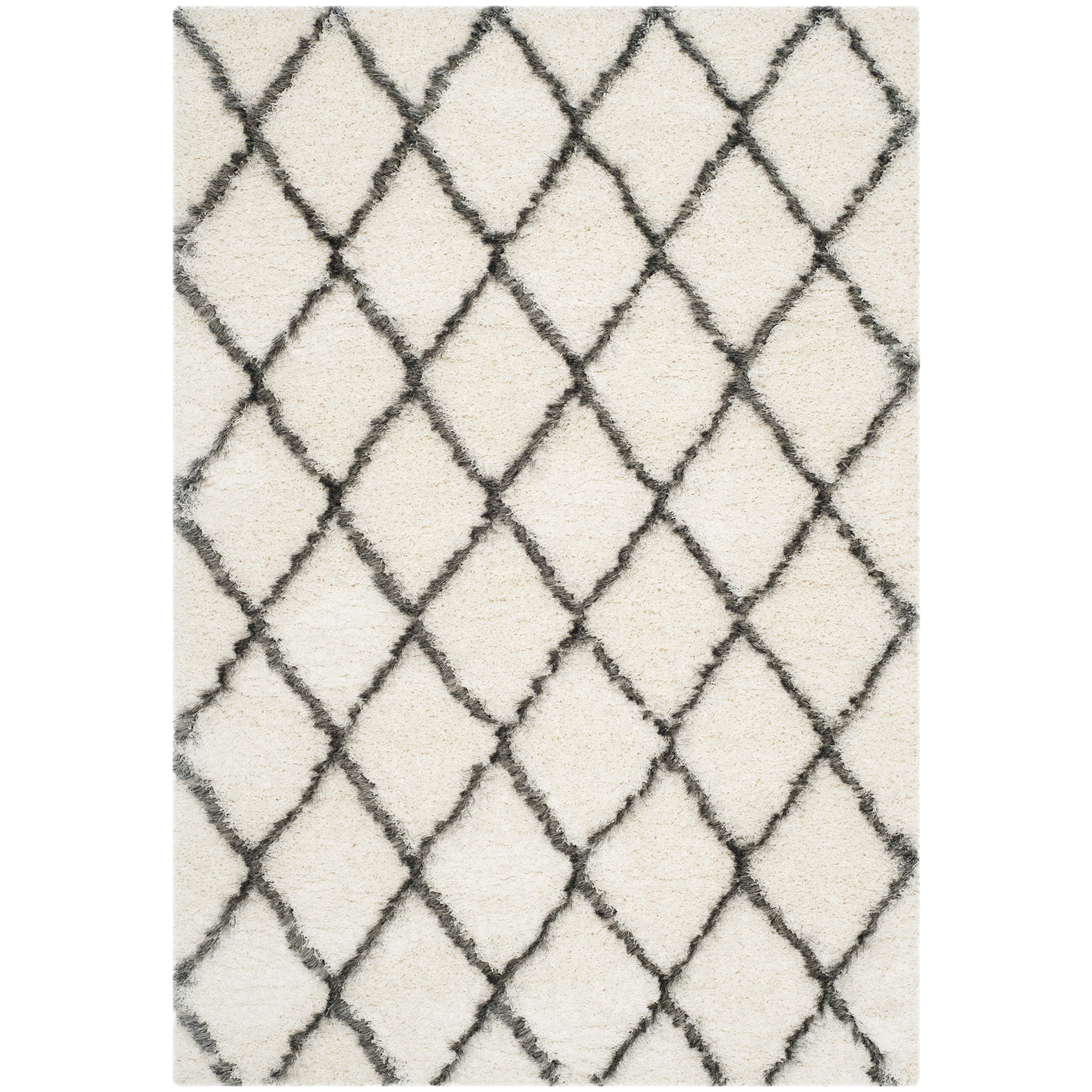 ^ Brayden Studio Sewell Moroccan Shag Ivory/Grey Geometric ...