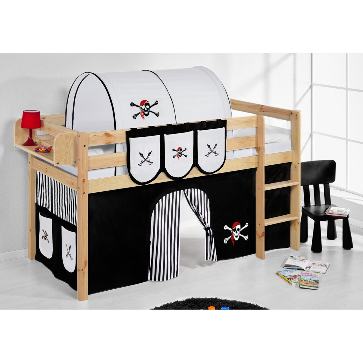 lilokids hochbett pirat mit vorhang und lattenrost 90 x 200 cm. Black Bedroom Furniture Sets. Home Design Ideas