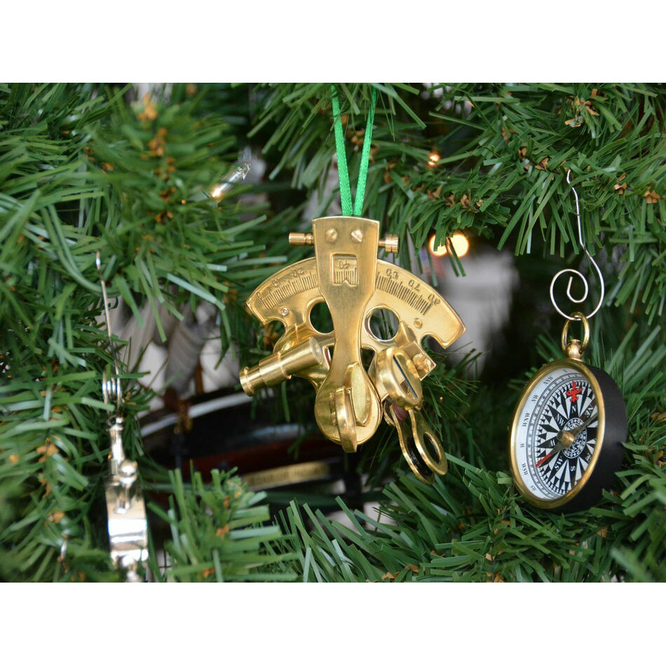 Nautical tree ornaments - Handcrafted Nautical Decor Brass Nautical Sextant Christmas Tree Ornament