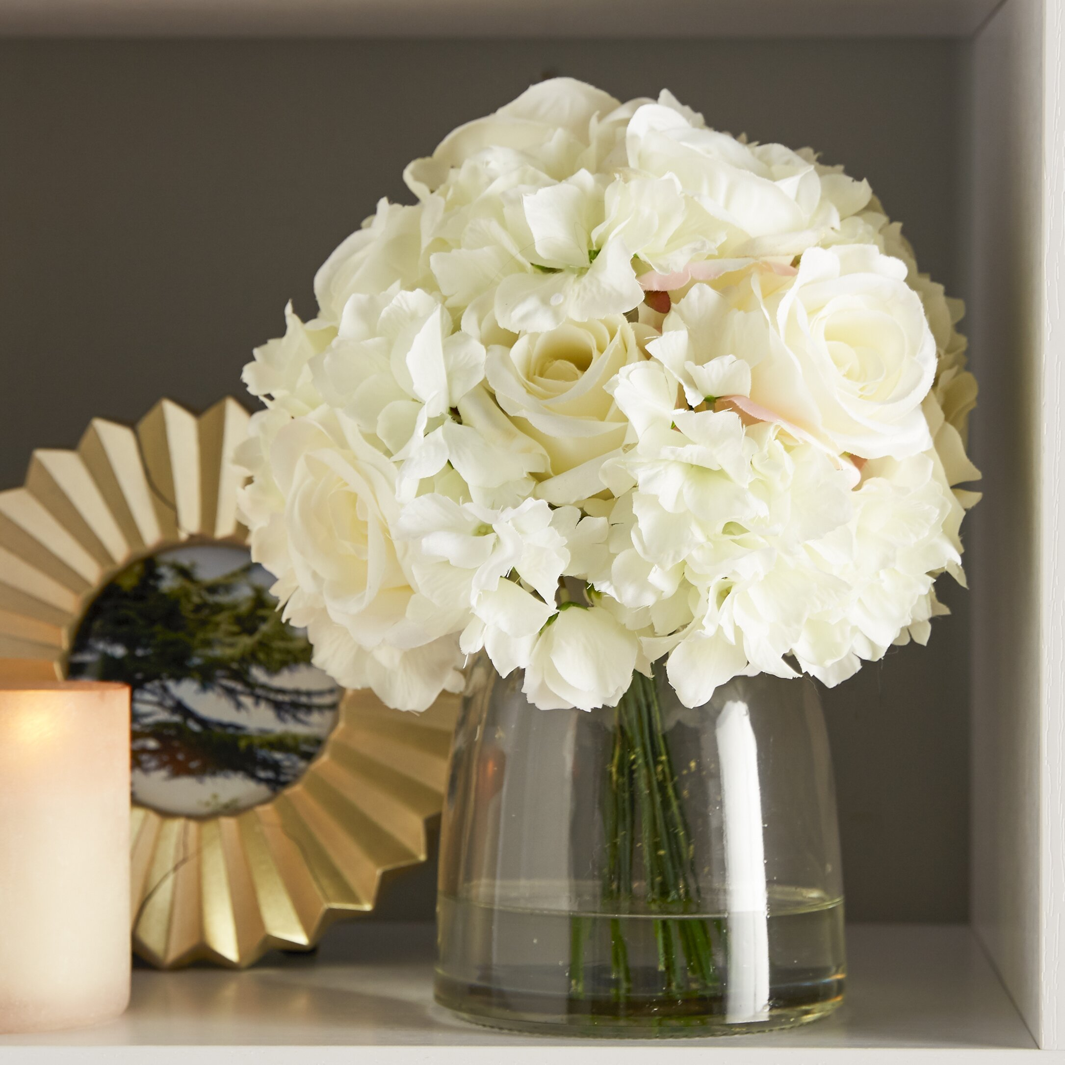 Pure Garden Hydrangea And Rose Arrangement In Glass Vase