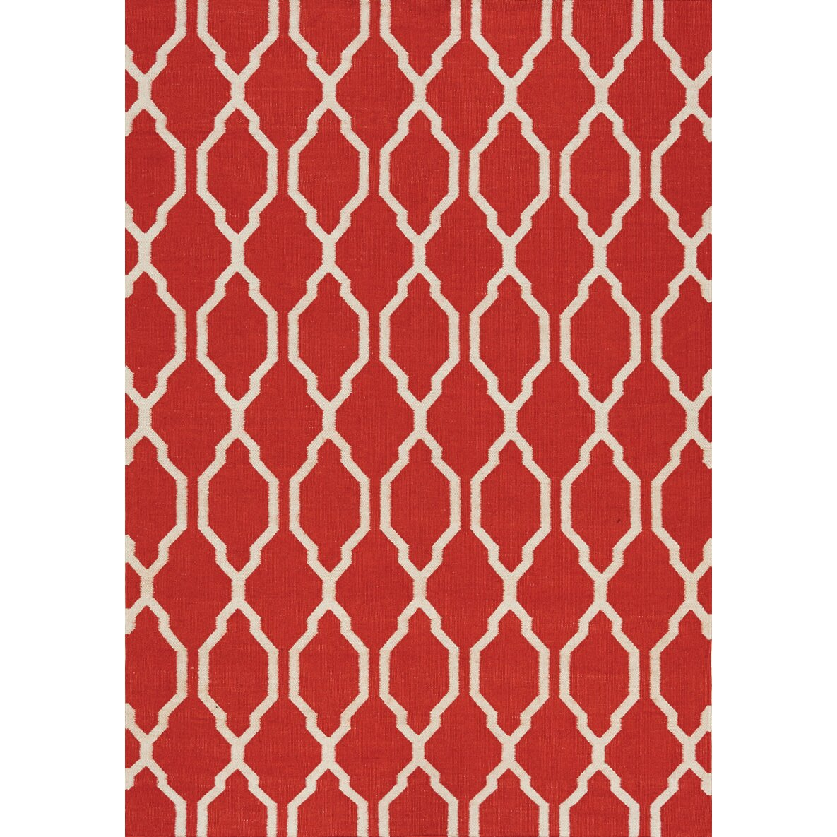 Kalora Shore Moroccan Flatweave Red Cream Indoor Outdoor