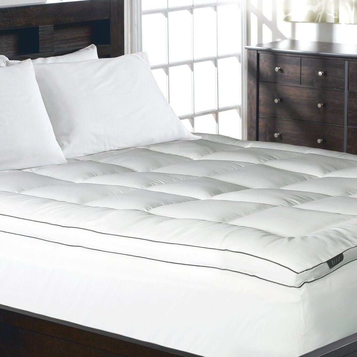 Elle 1200 Thread Count Cotton Rich Solid Mattress Pad
