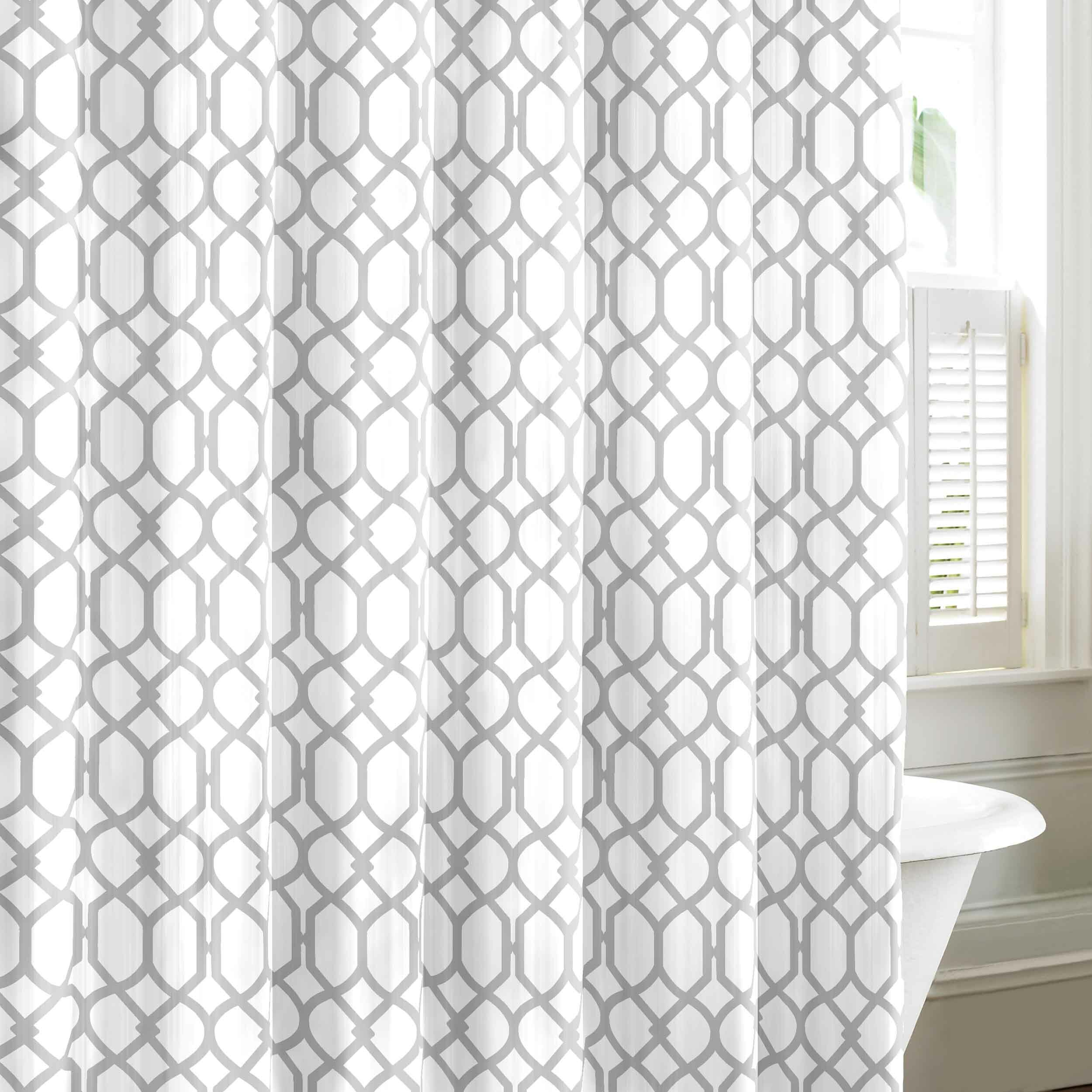 Polka dot shower curtain black and white - Quick View Shoretwon Trellis Cotton Shower Curtain
