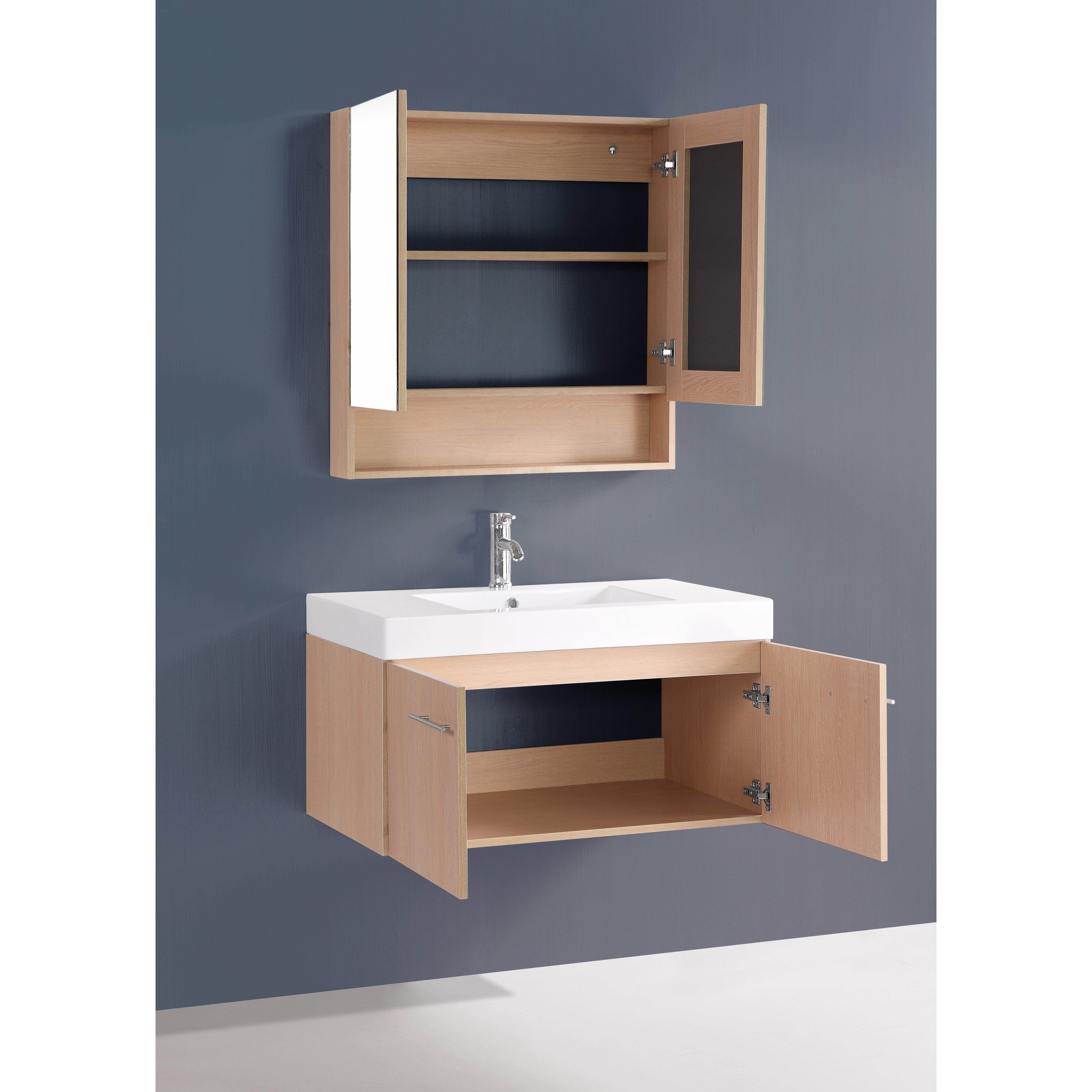 """Bosconi Contemporary 36"""" Single Bathroom Vanity Set with ..."""