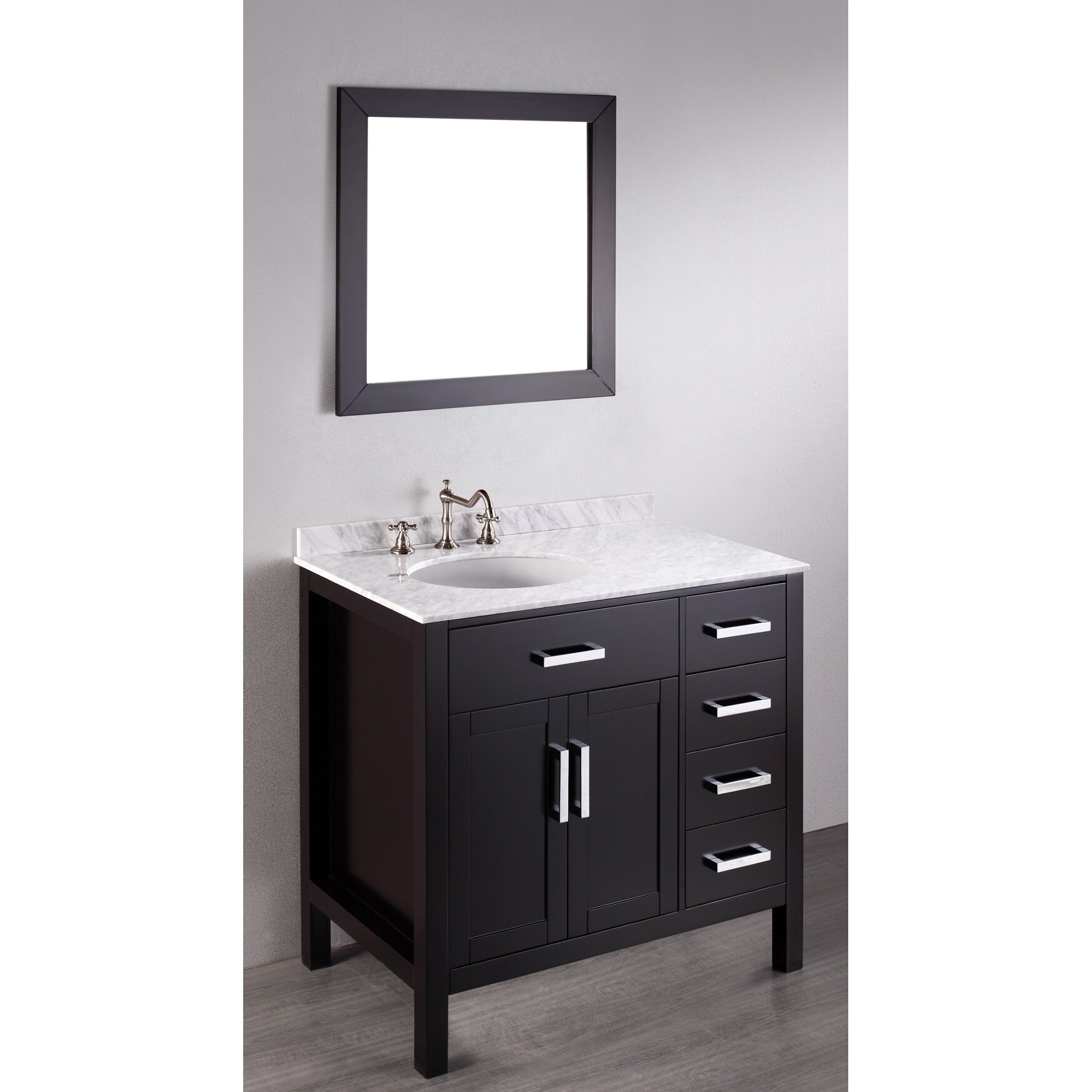 Bosconi contemporary 36 single bathroom vanity set with mirror reviews wayfair - Kona modern bathroom vanity set ...