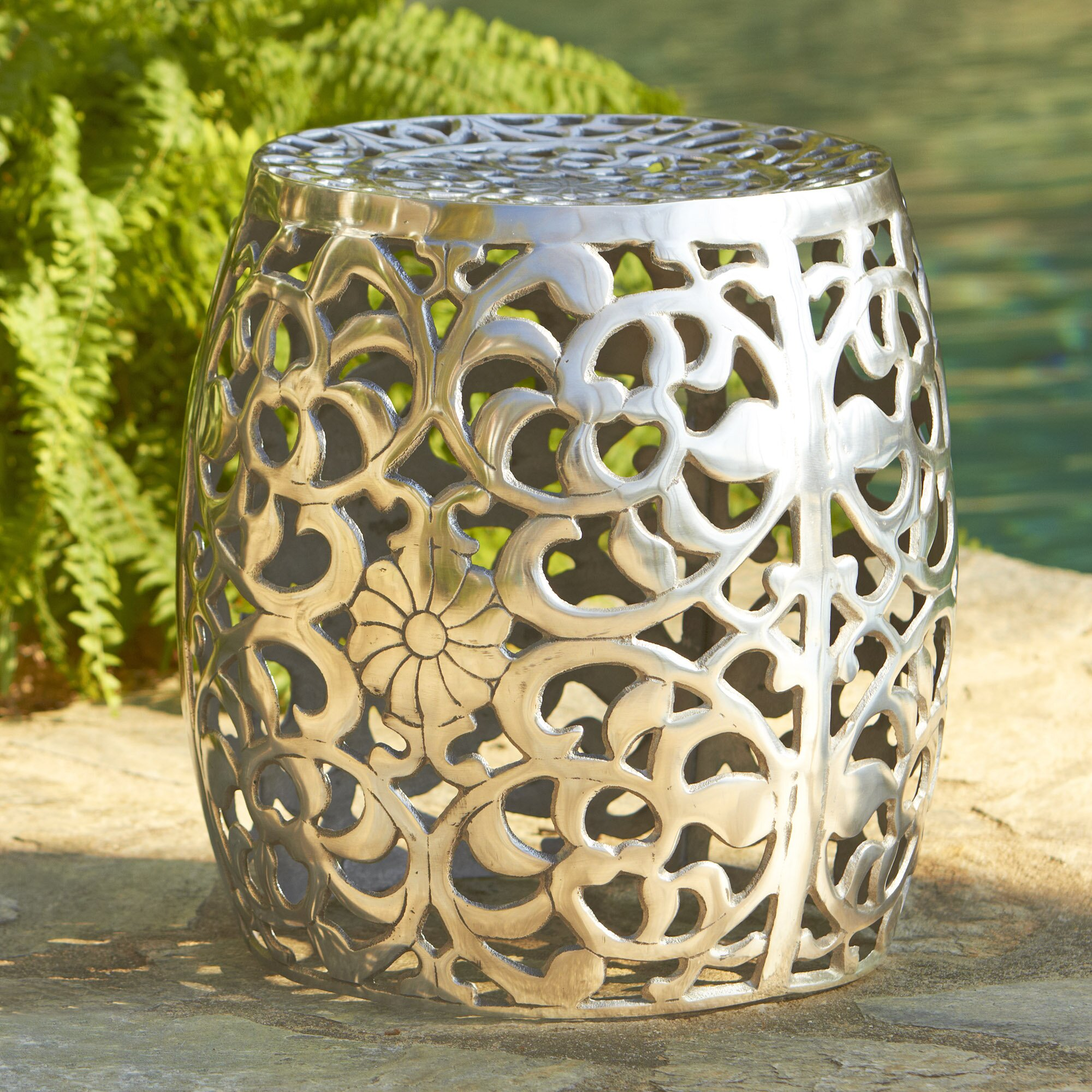 Exceptional Birch Lane Fretwork Aluminum Garden Stool