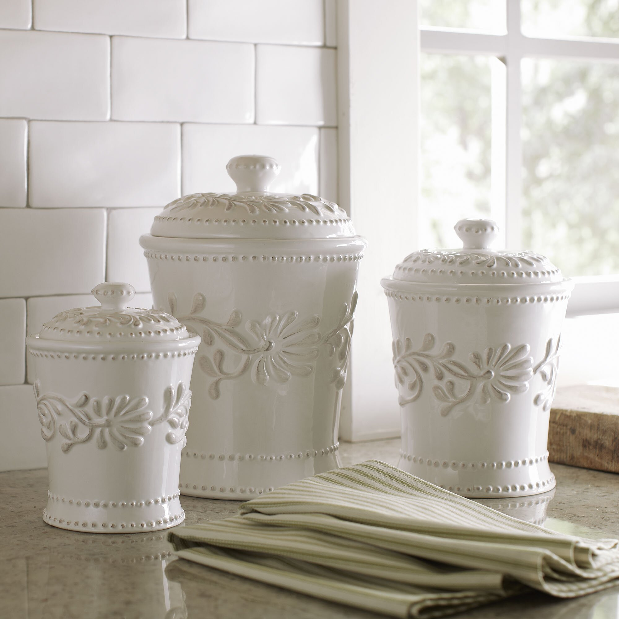 Country canister sets for kitchen - Quick View Newport 3 Piece Canister Set
