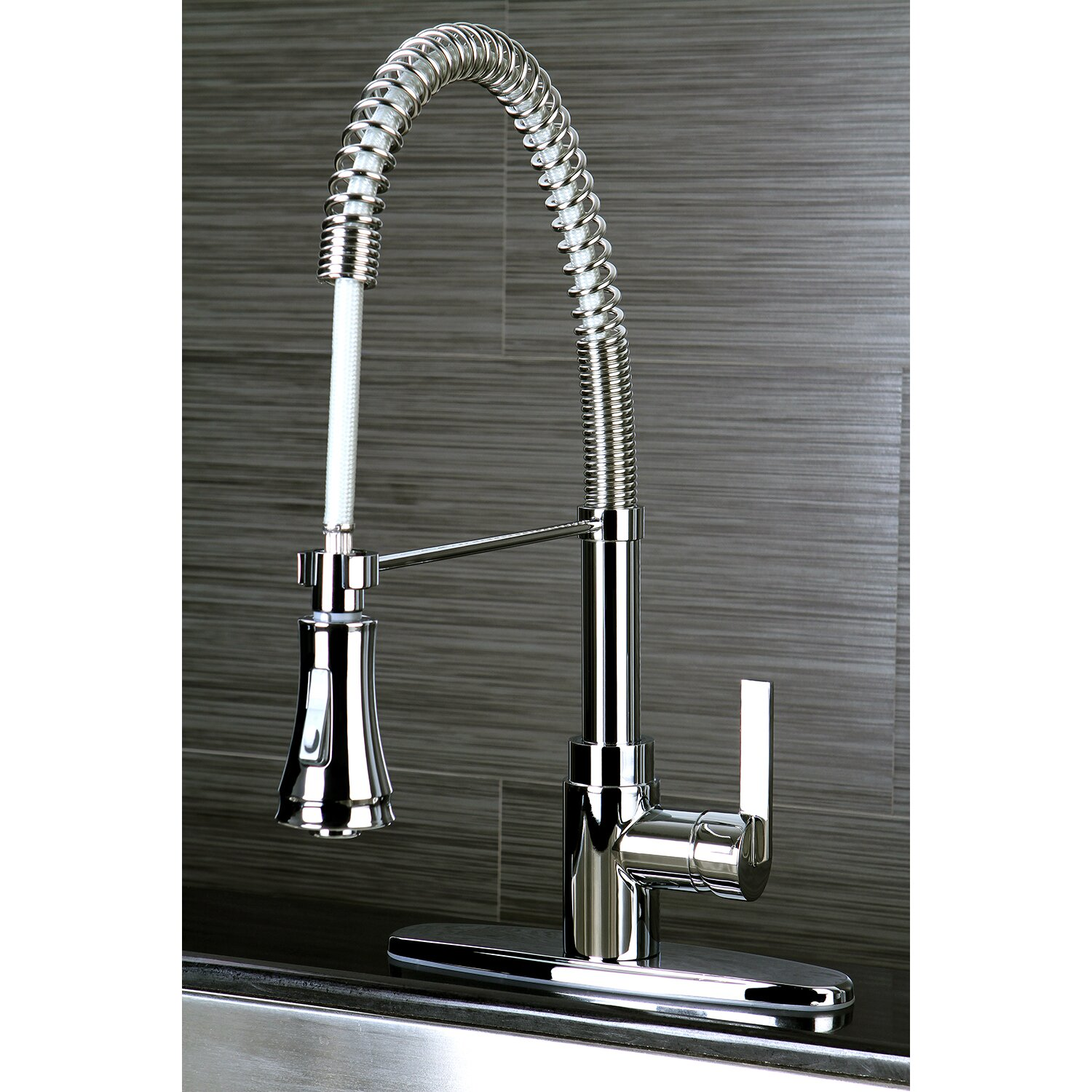 Pull Down Spray Kitchen Faucet Kingston Brass Continental Gourmetier Single Handle Pull Down
