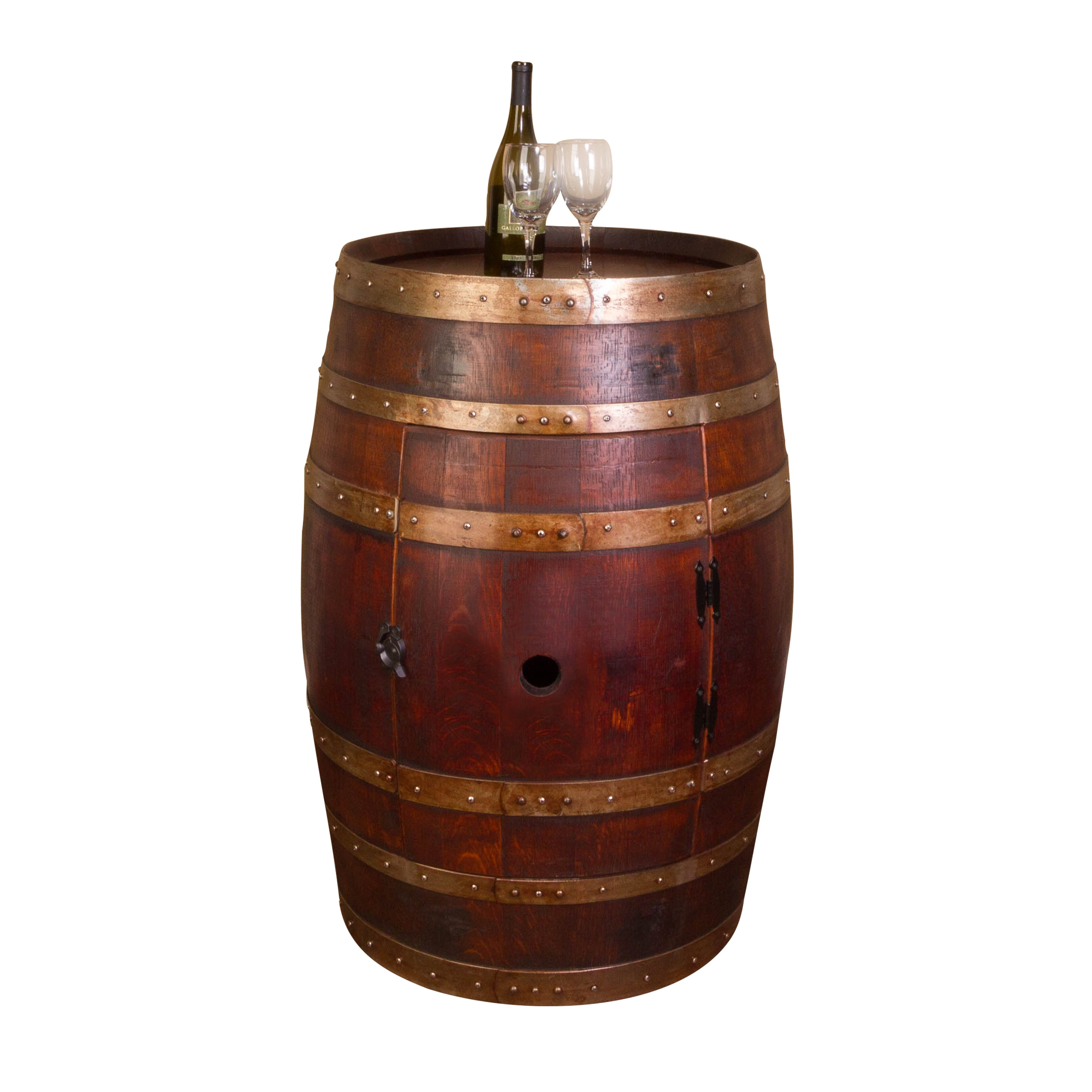 Napa east collection wine barrel bar with bar cabinet for 1 2 wine barrel table