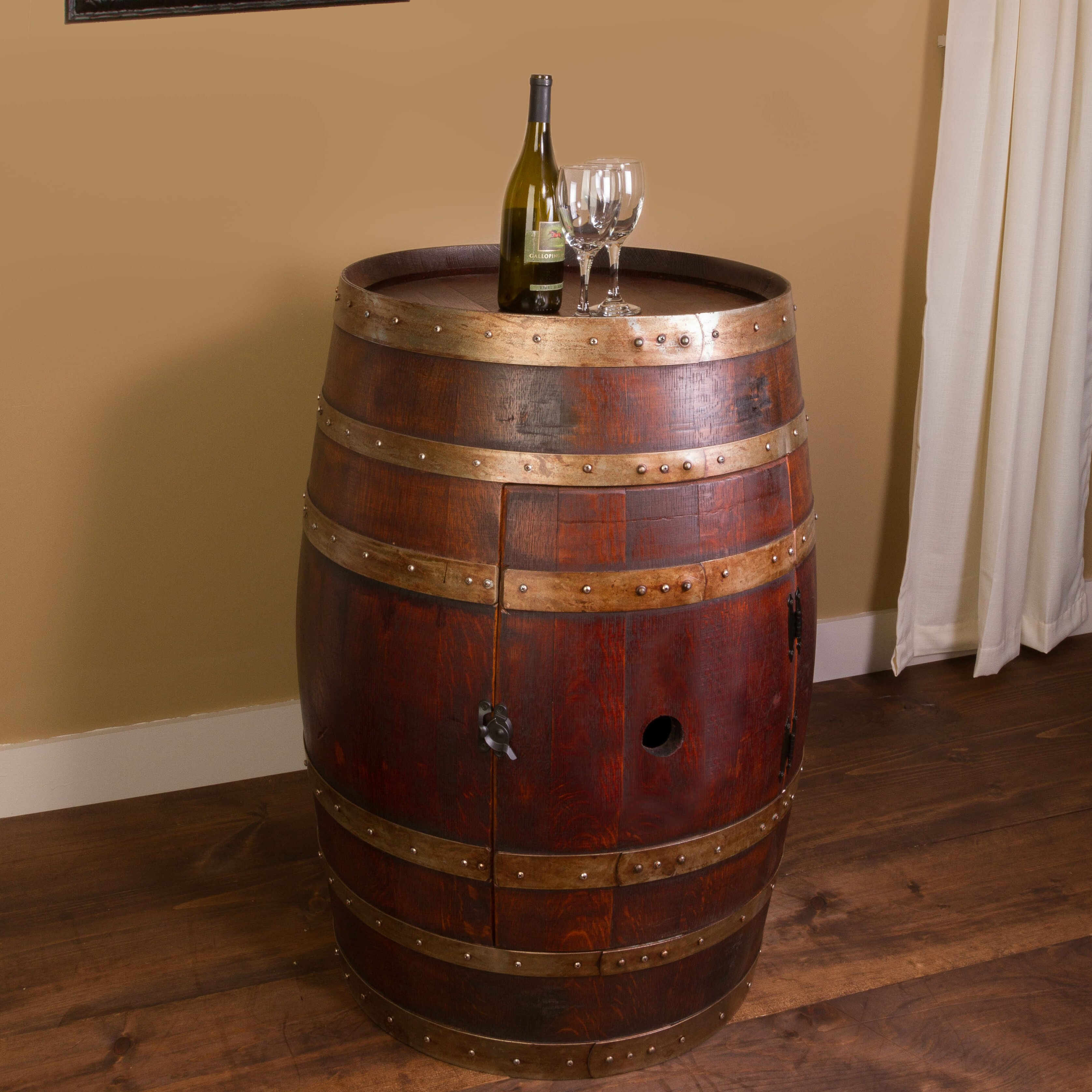Napa east collection wine barrel bar with bar cabinet for How to make a wine barrel bar