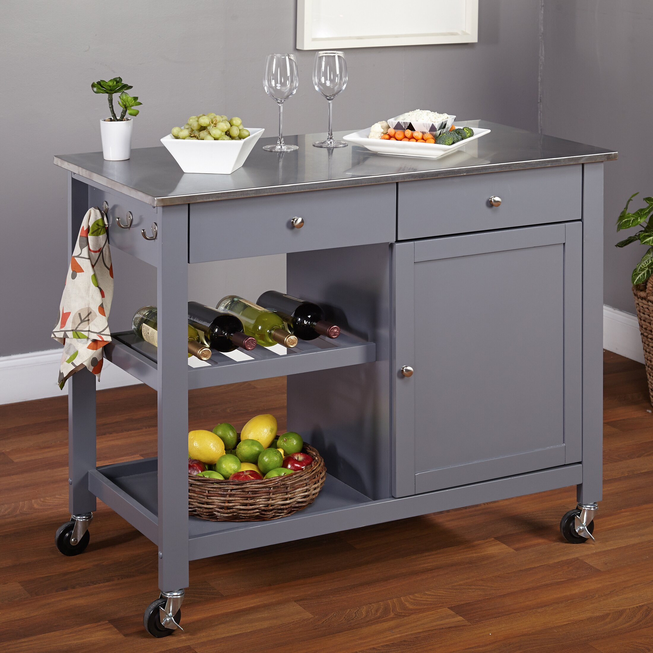 Stainless Steel Kitchen Tms Columbus Kitchen Island With Stainless Steel Top Reviews