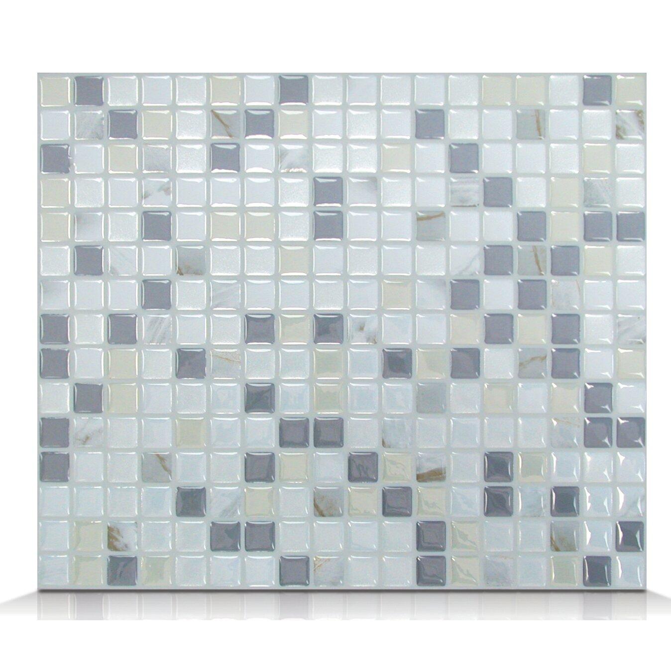 smart tiles mosaik minimo noche x peel stick wall tile in white gray reviews. Black Bedroom Furniture Sets. Home Design Ideas