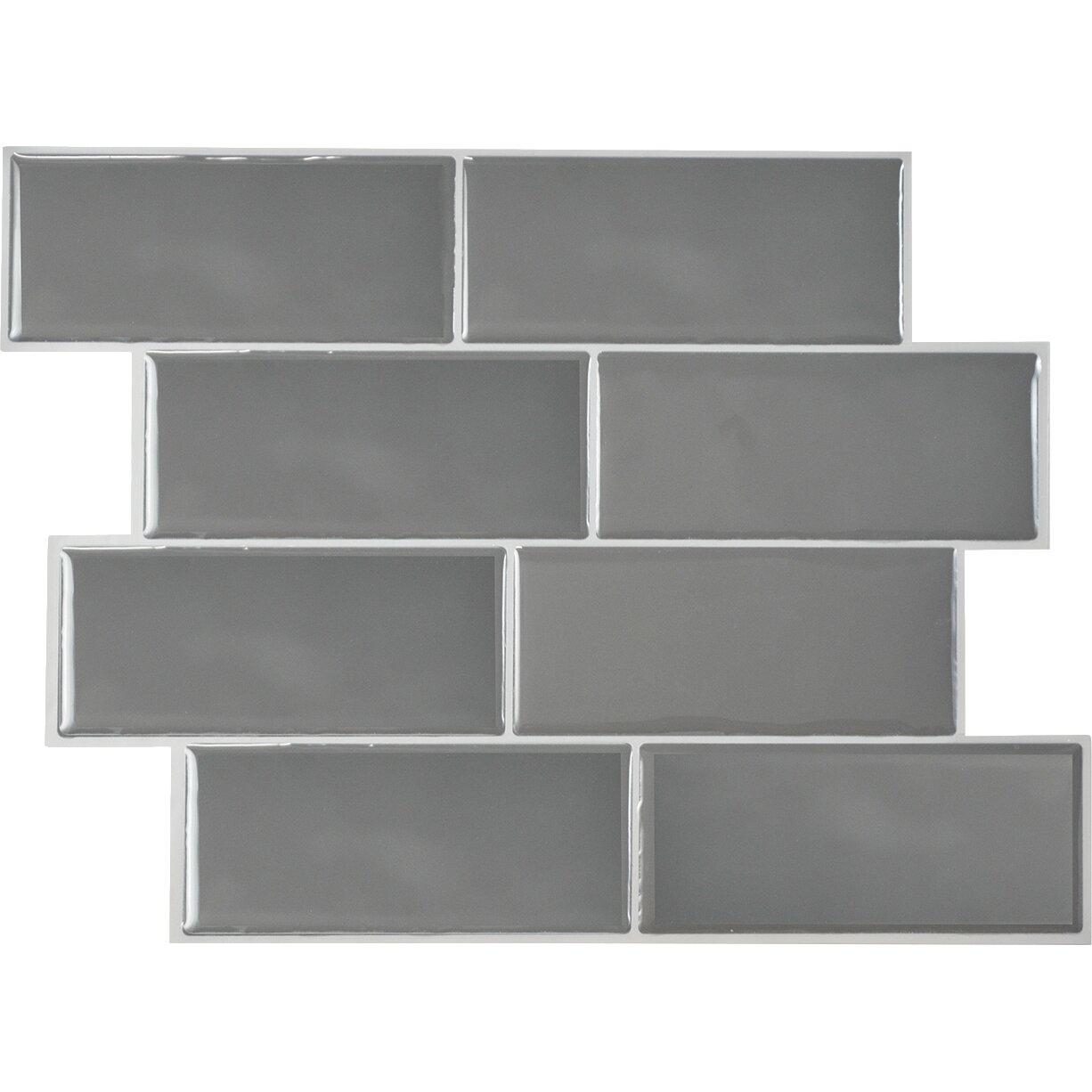 smart tiles mosaik metro grigio x peel stick subway tile in gray reviews wayfair. Black Bedroom Furniture Sets. Home Design Ideas