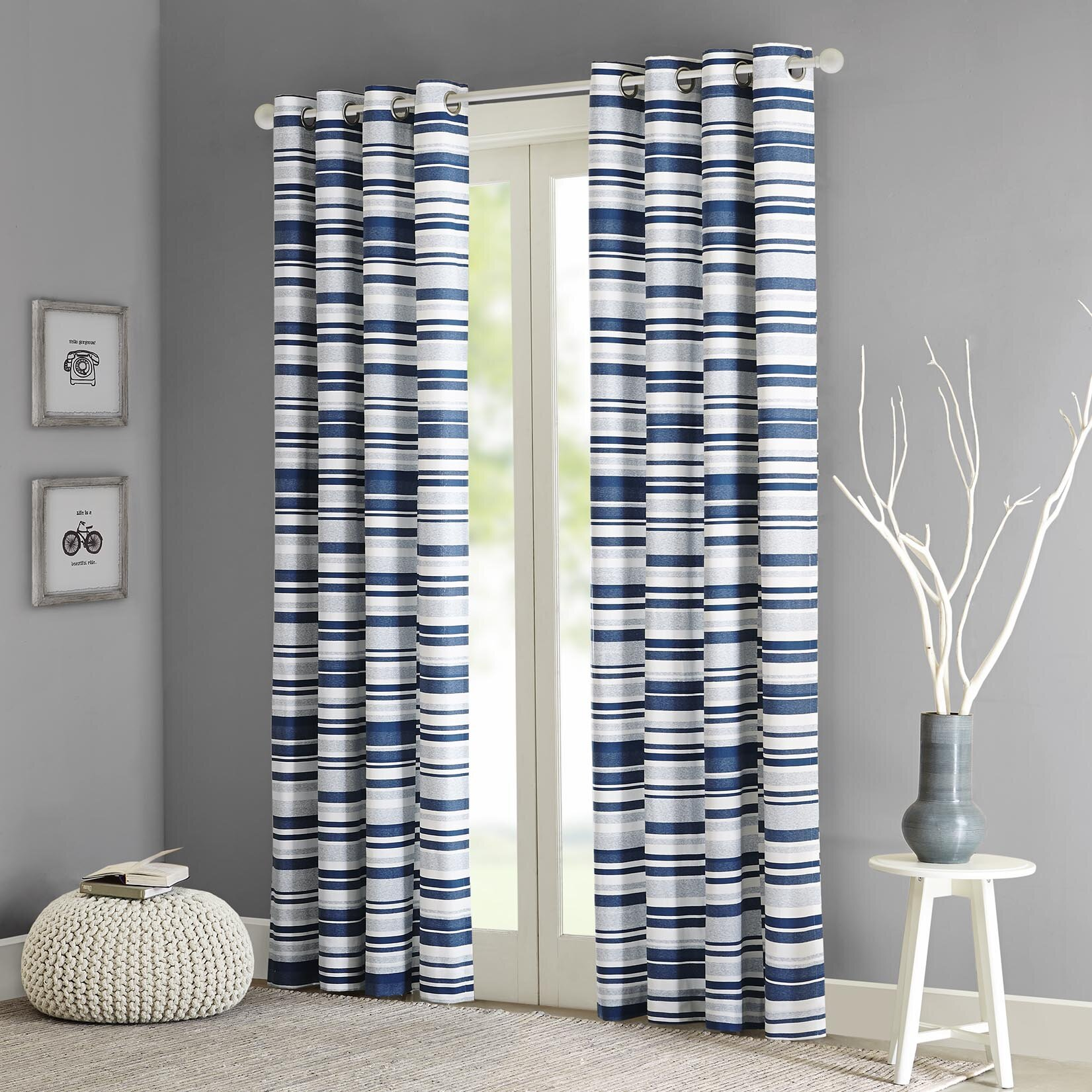 Striped Living Room Curtains Intelligent Design Sadie Stripe Printed Single Curtain Panel