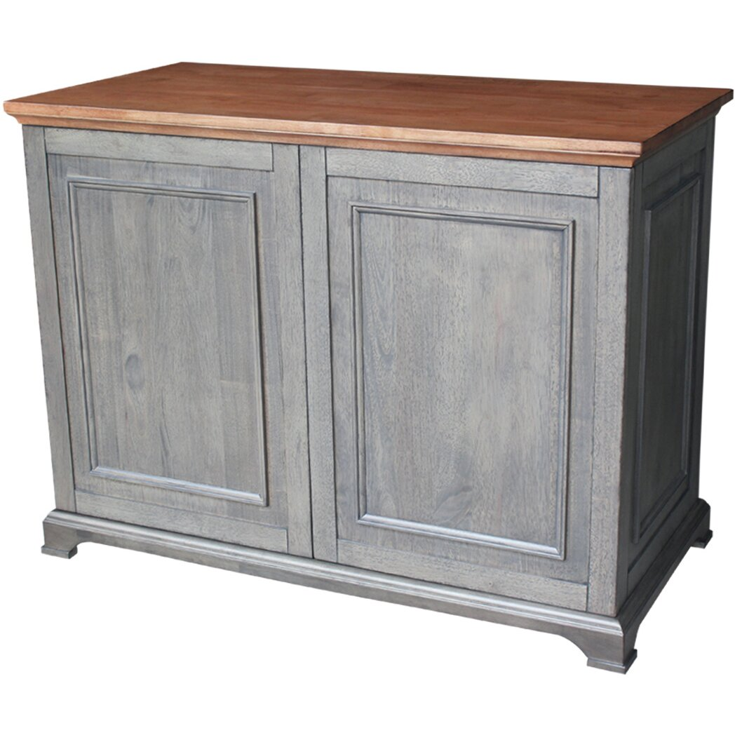 Just Cabinets Bristol Kitchen Island with Wood Top ...