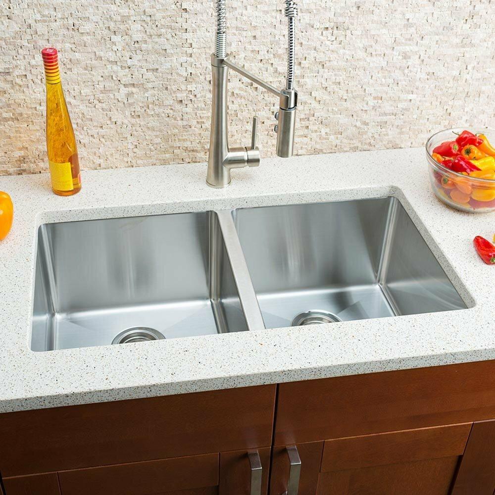 Chef Kitchen Hahn Chef Series 32 X 18 Double Bowl Undermount Kitchen Sink