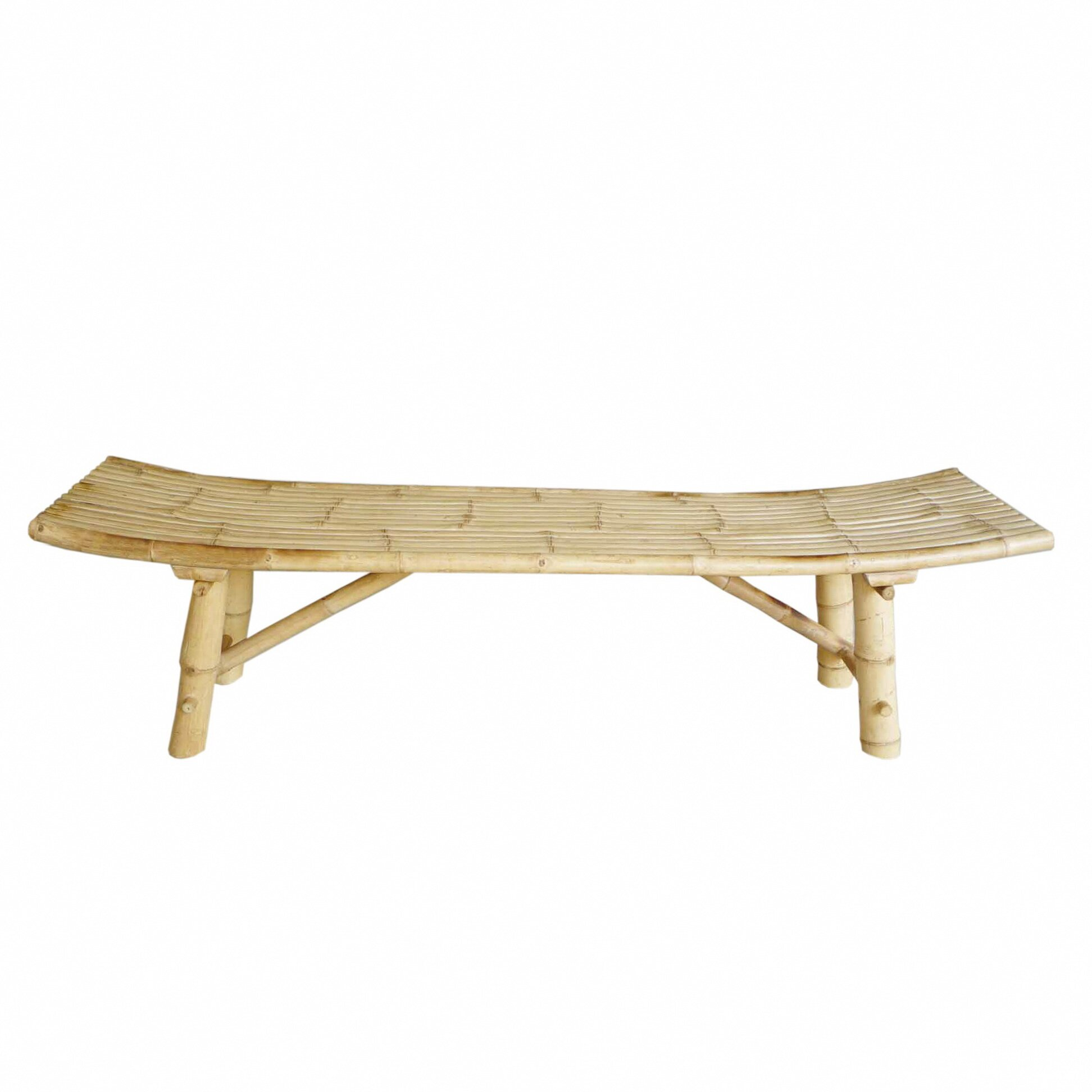 Zew Hand Crafted Indoor Outdoor Bamboo Picnic Bench