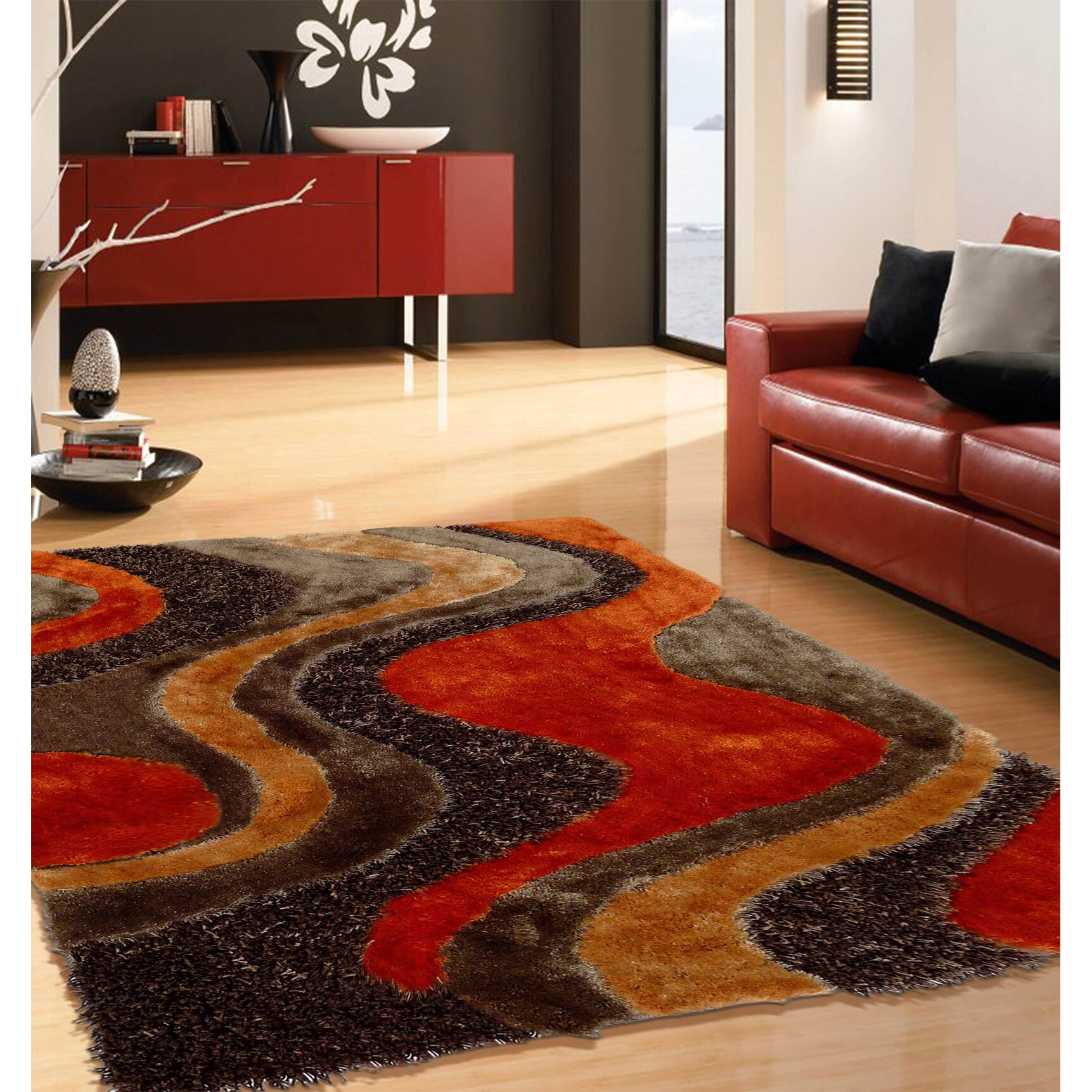 Orange Rugs For Living Room Rug Factory Plus Hand Tufted Brown Orange Area Rug Wayfair