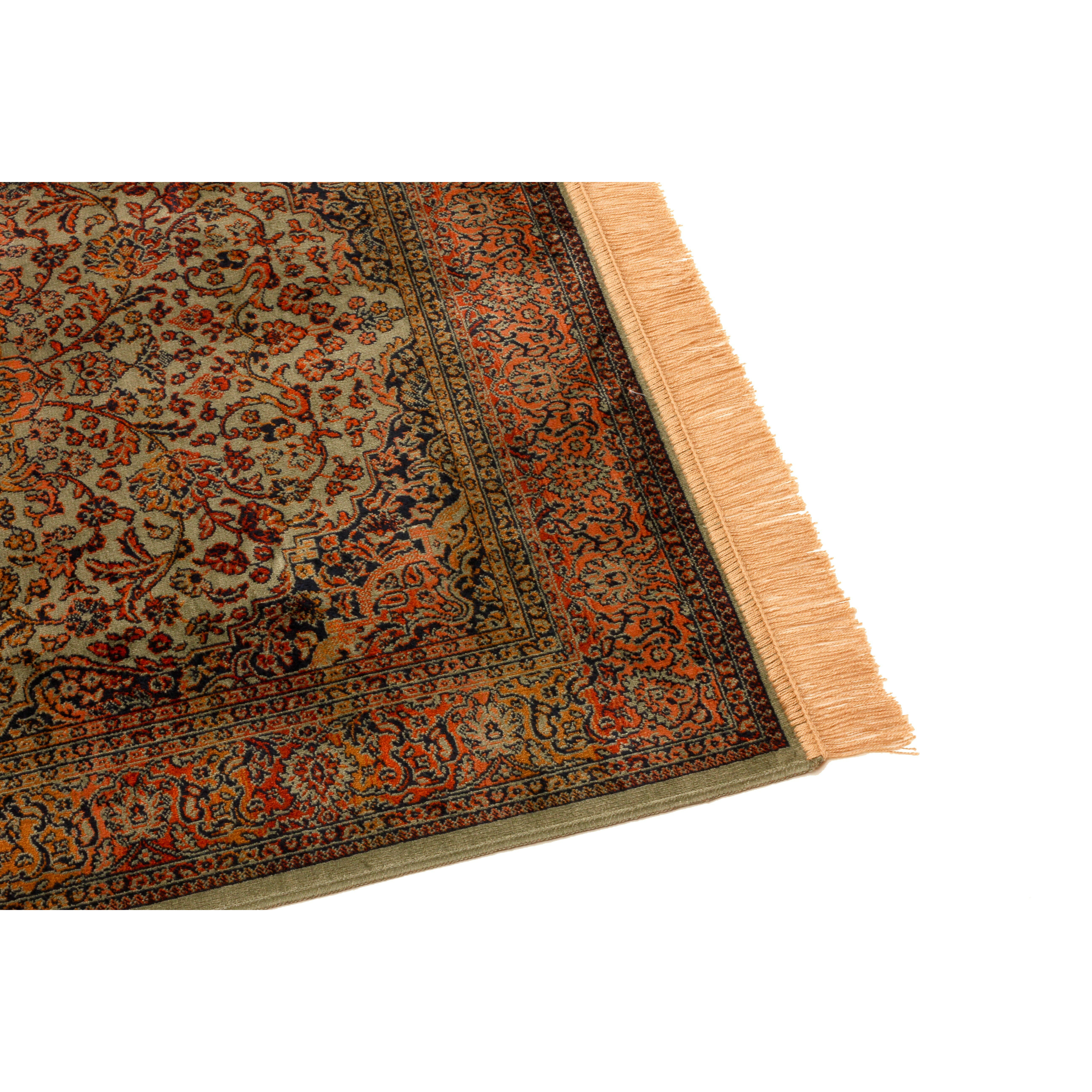 Barefoot artsilk rugs persian medallion handmade brown for Custom made area rugs