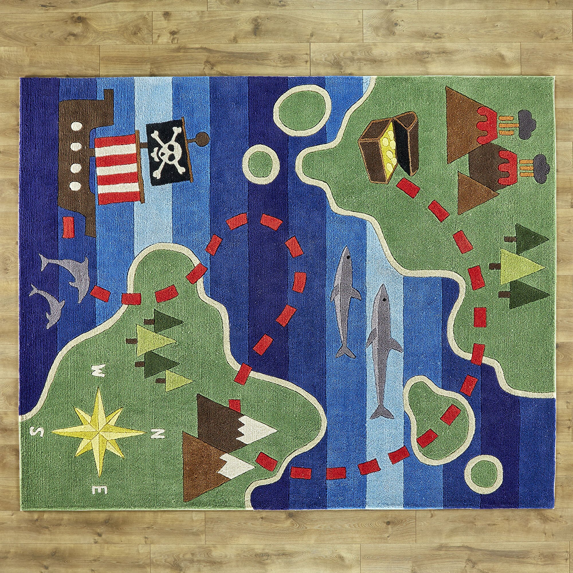 Birch Lane Kids Treasure Map Hand-Tufted Blue/Green Kids