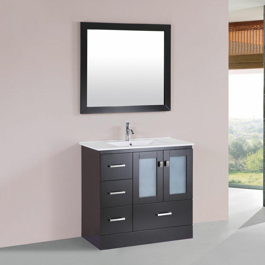 36 single modern bathroom left side cabinet vanity set