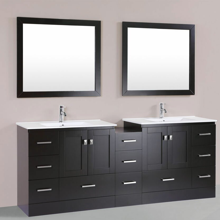 collection redondo 84 double modern bathroom side cabinet vanity set