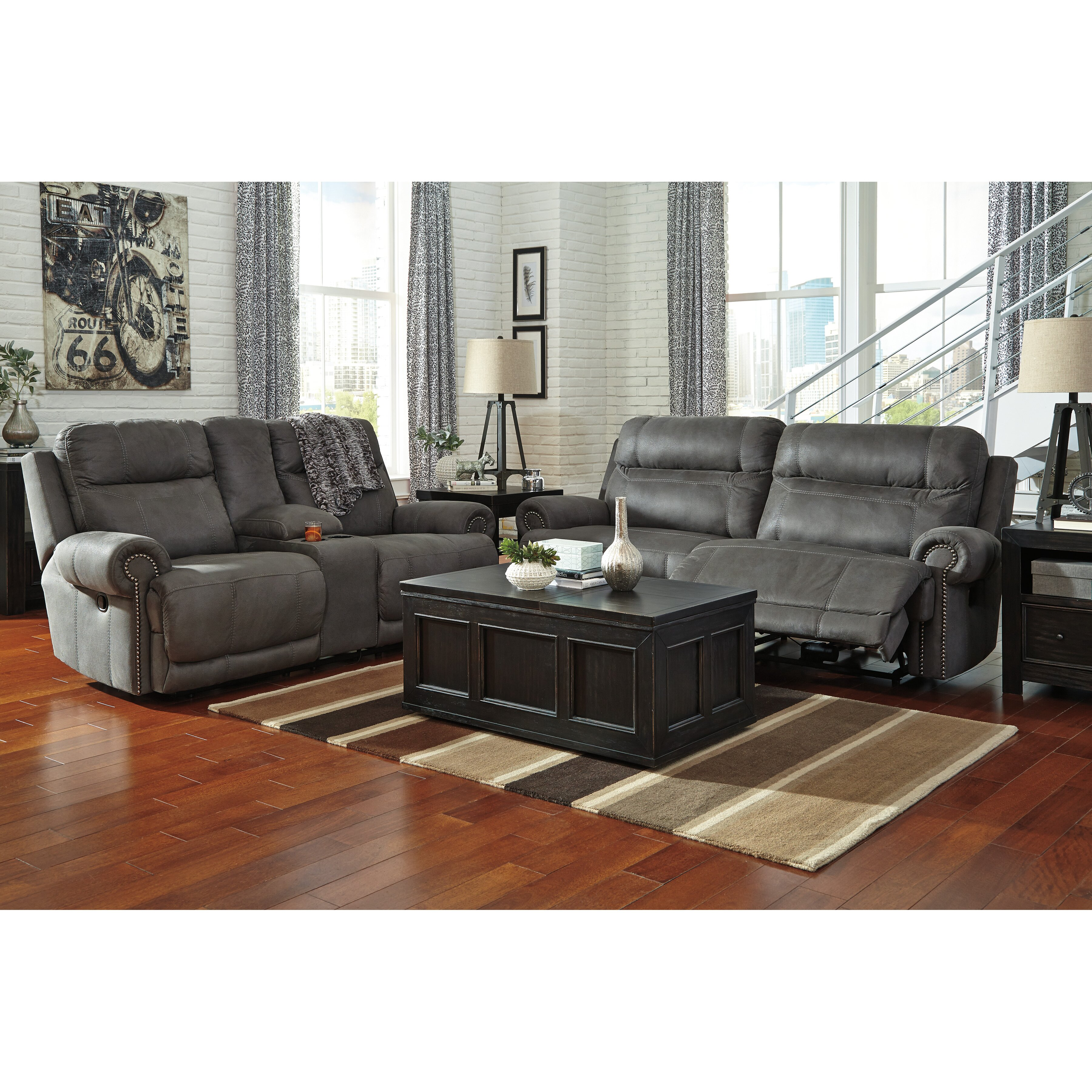 Signature Design By Ashley Austere 2 Seat Reclining Sofa