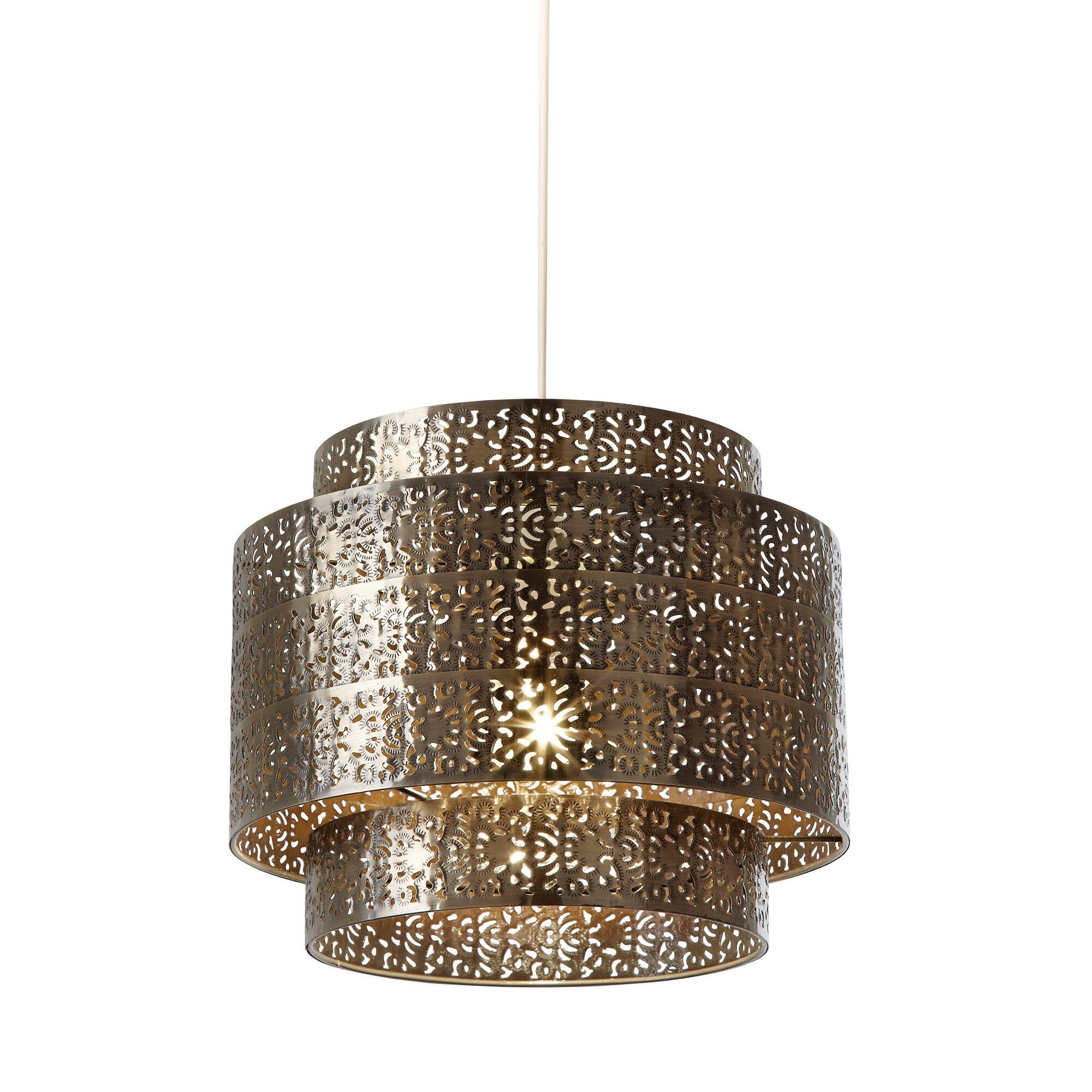 Ceiling Lamp Shades At Next: Endon Lighting 28cm Bramham Metal Drum Pendant Shade