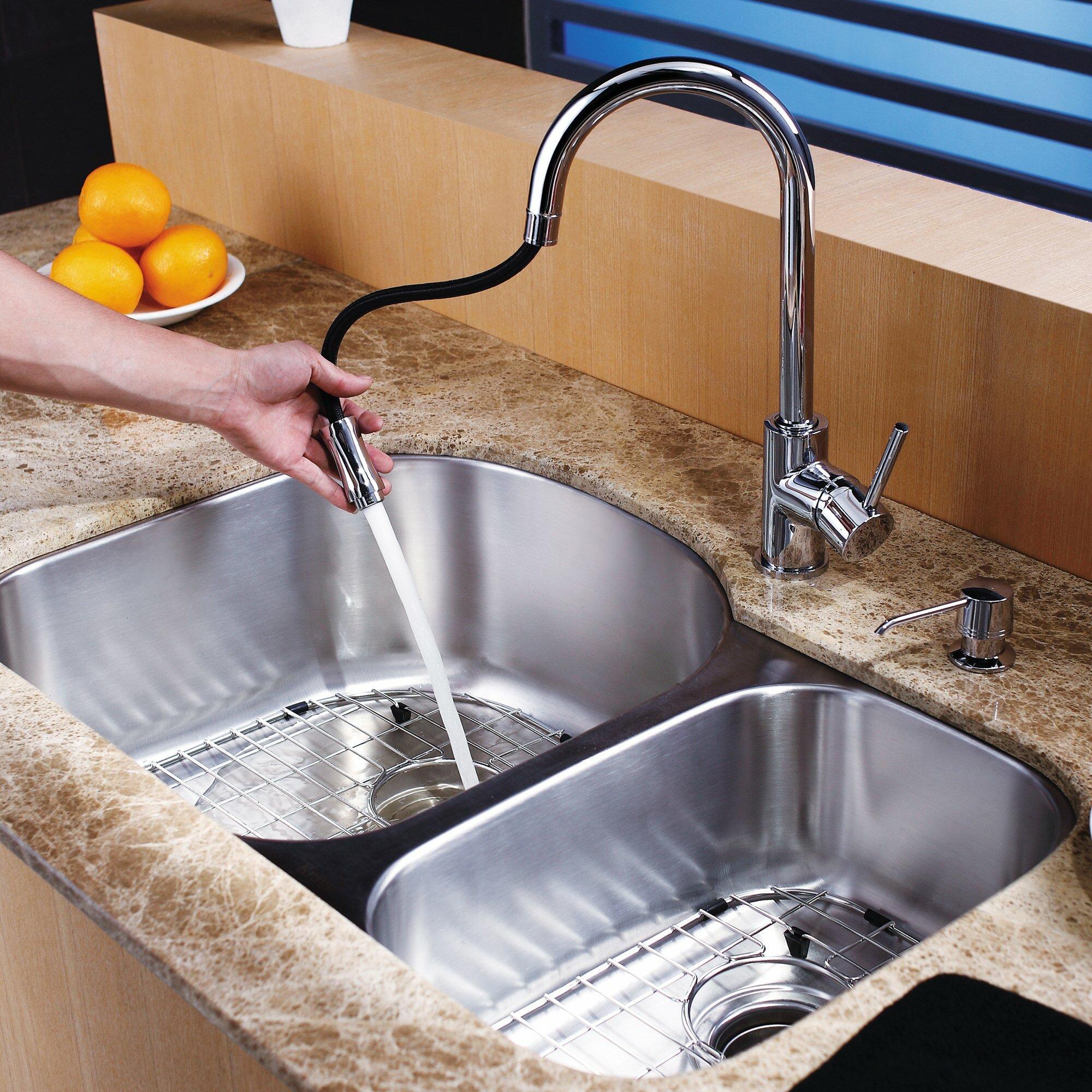 Kraus 31 5 x 20 5 8 piece undermount double bowl kitchen - Kitchen sink pieces ...