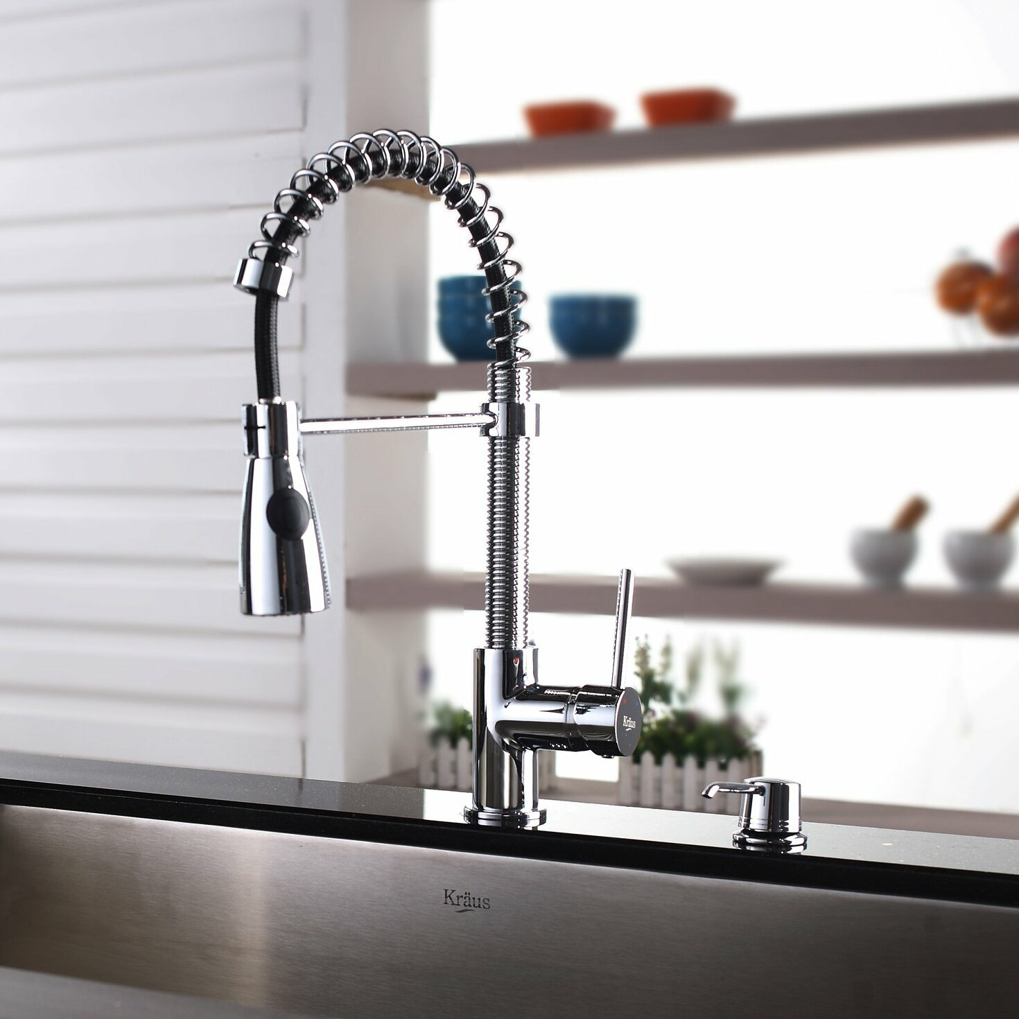 Kraus Single Lever Pull Out Kitchen Faucet And Dispenser Kitchen