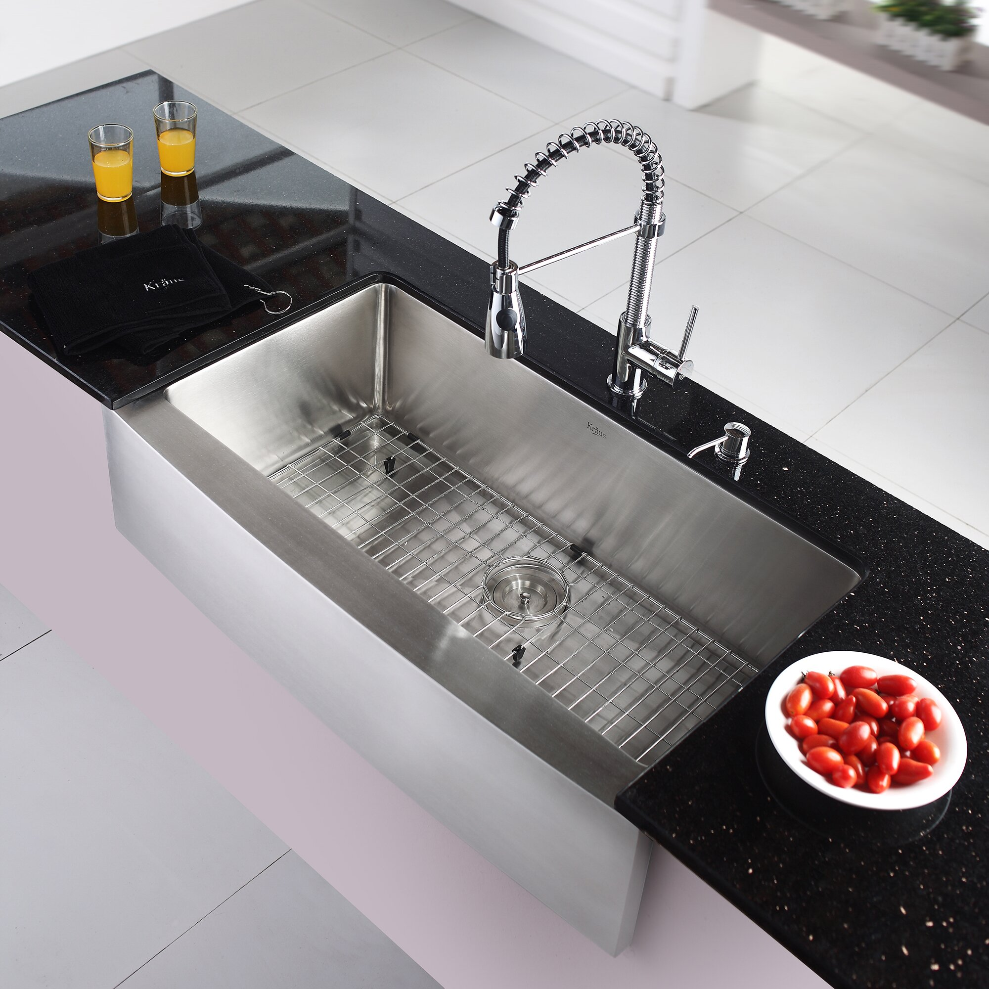 Kraus Stainless Steel 35.9 x 20.8 Farmhouse Kitchen Sink with Faucet and Soap Dispenser