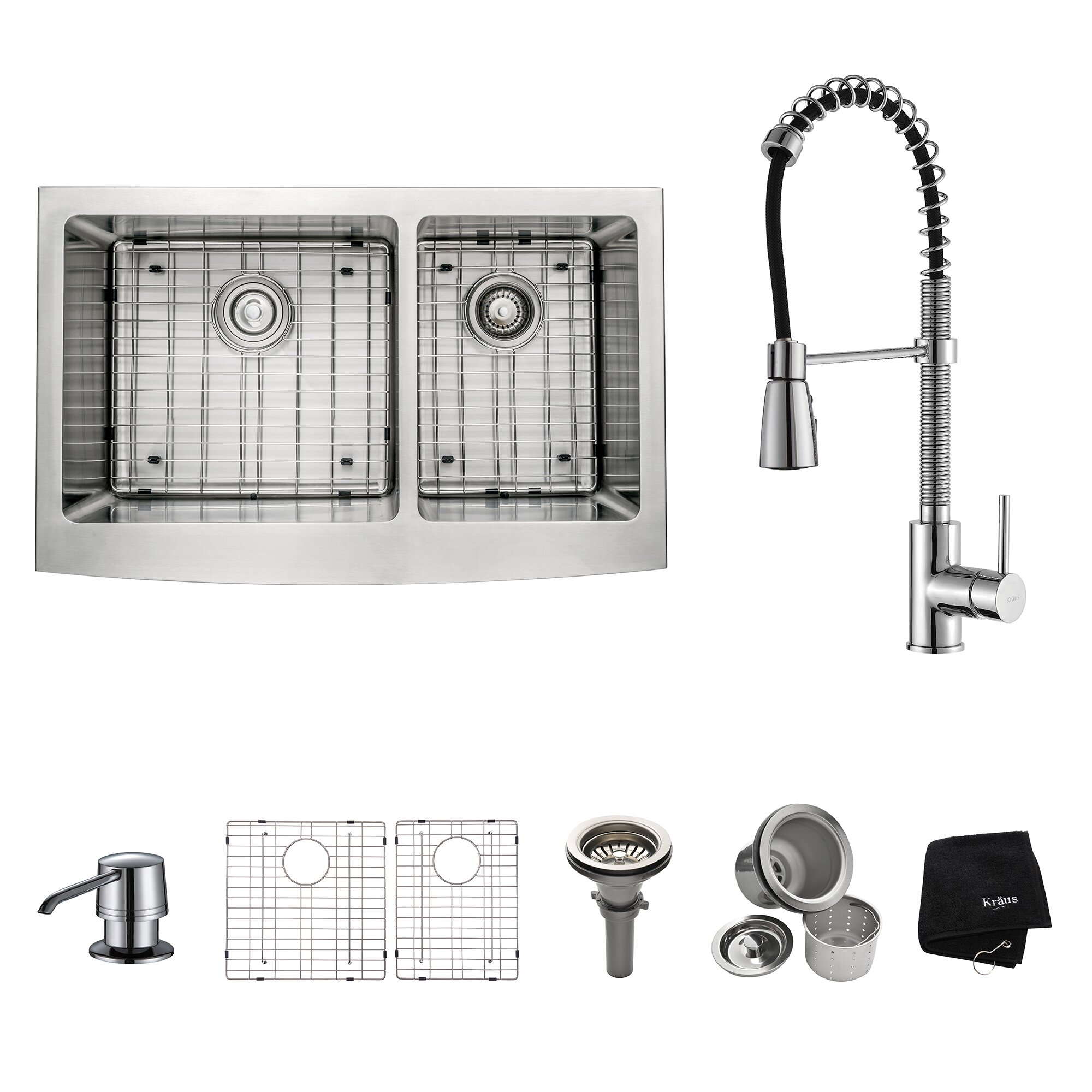 Farmhouse Apron Kitchen Sinks Kraus Kitchen Combo 33 X 21 Double Basin Farmhouse Apron Kitchen