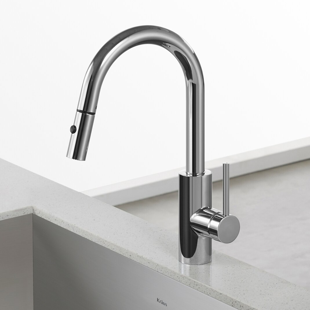 Kraus Oletto Pull Down Kitchen Faucet With Bar Prep Faucet And Soap Dispenser Reviews Wayfair