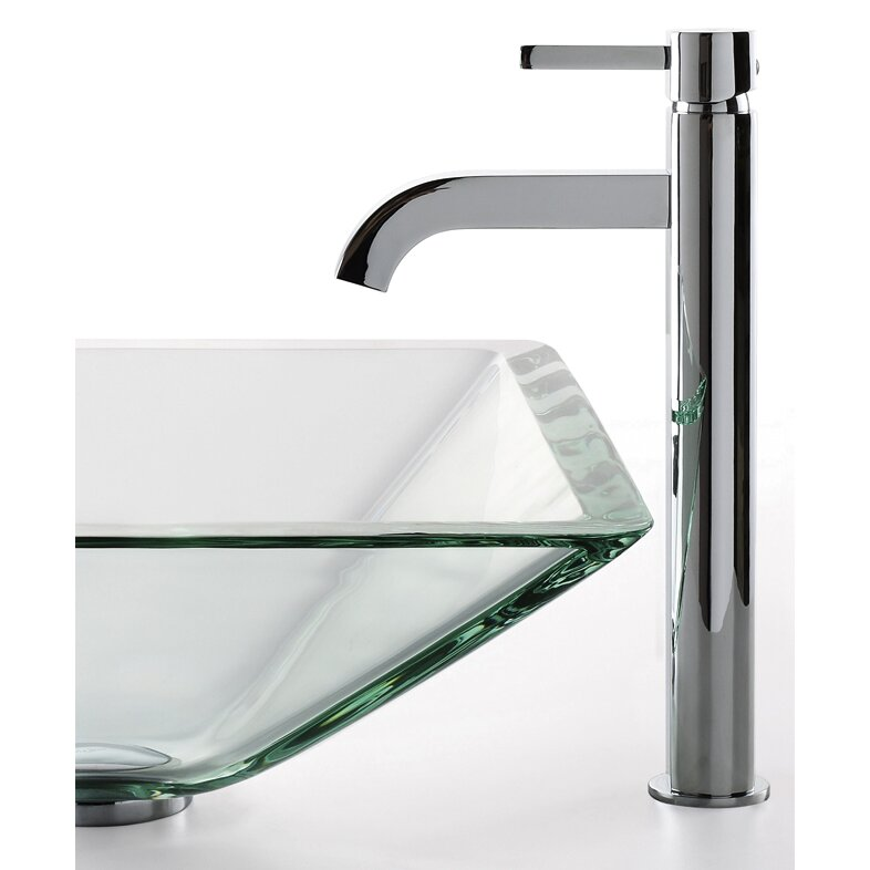 Kraus Square Aquamarine Glass Sink and Ramus Faucet & Reviews ...